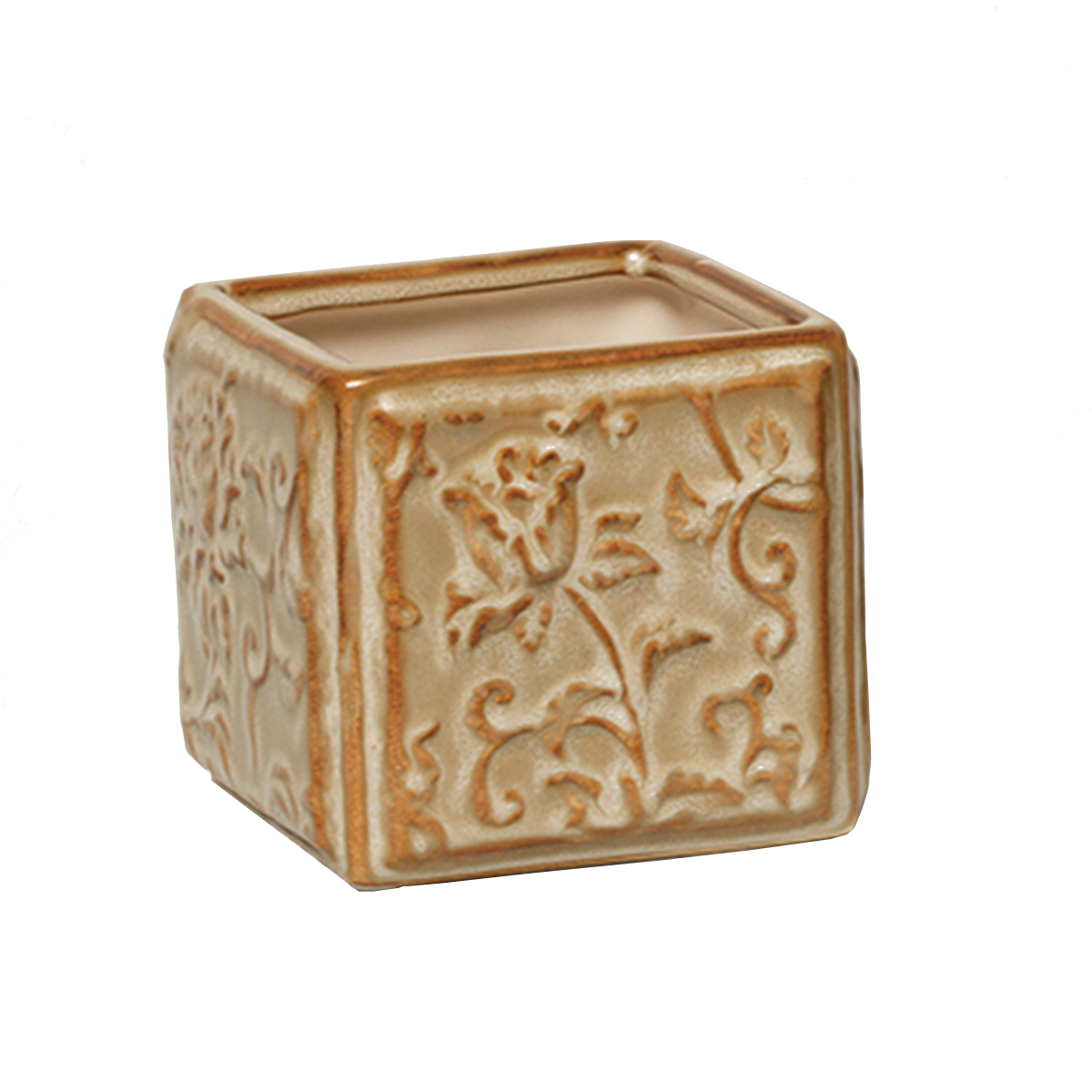 "SQUARE FLORAL PLANTER 3.5"" X 3.5"" X 3.25"" BEIGE 70sp"