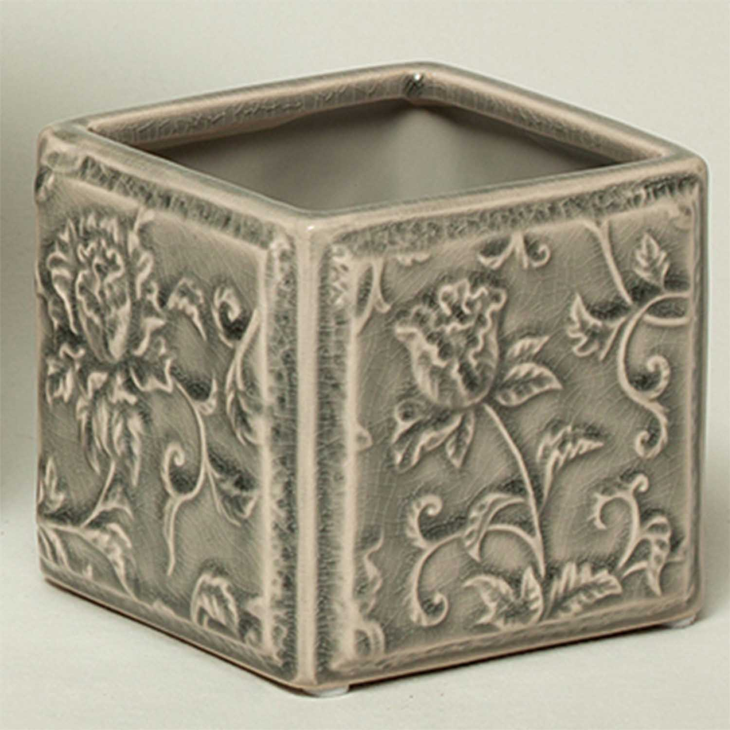 "SQUARE FLORAL PLANTER 3.5"" X 3.5"" X 3.25"" GREY 50b"