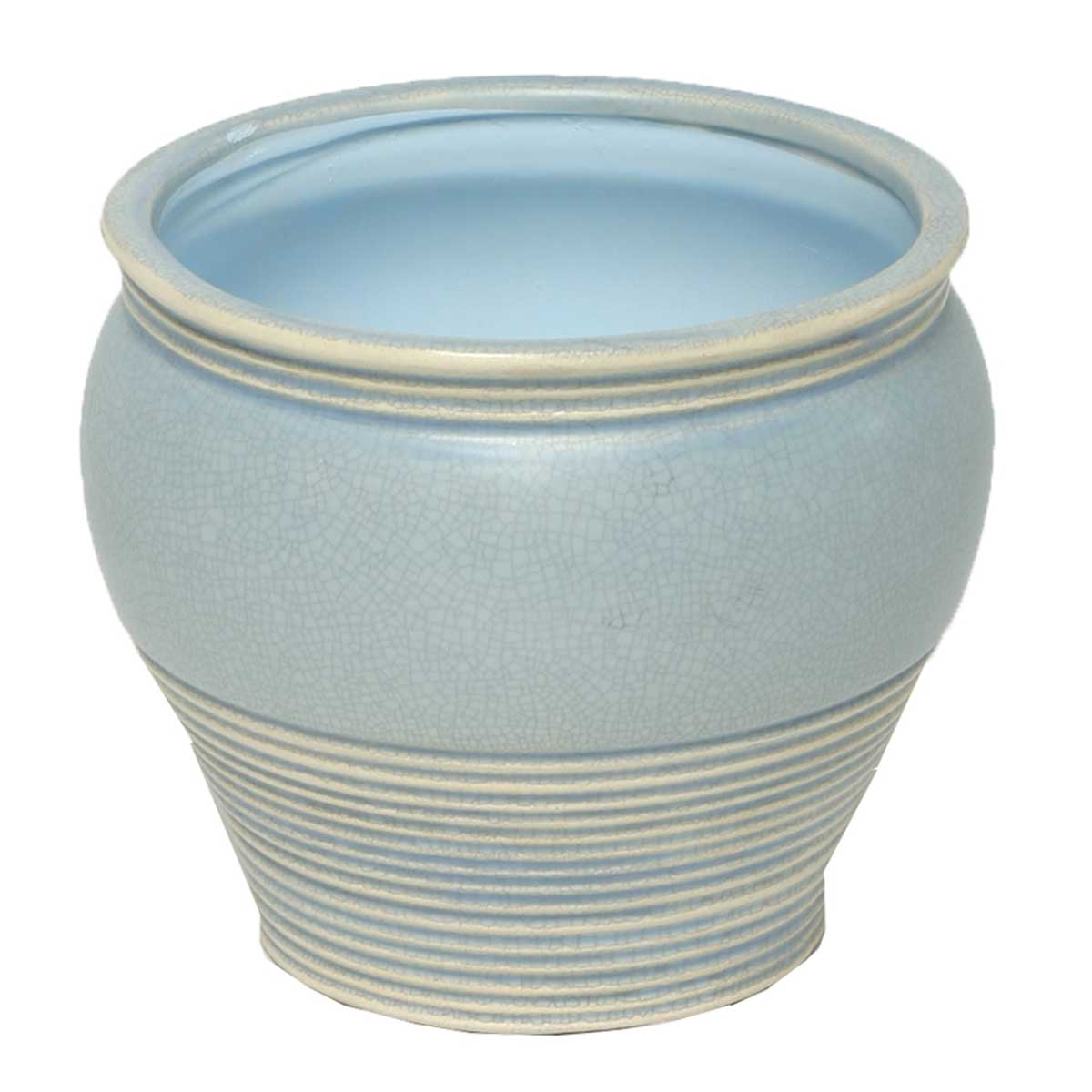 "RIBBED CRACKLE POT 5.5"" X 5.5"" BLUE 50b"