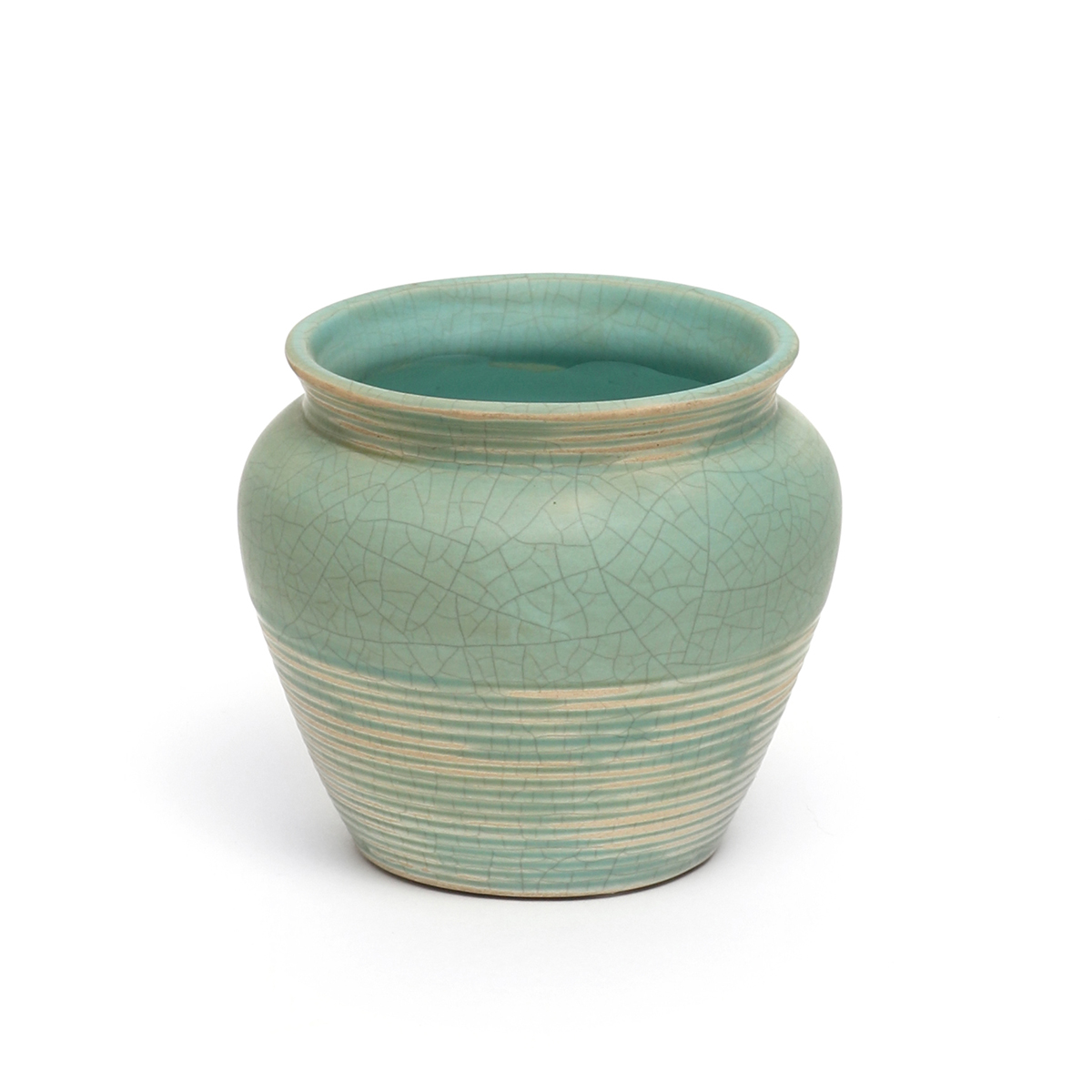 "RIBBED CRACKLE POT 3.75"" X 4.25"" GREEN 50b"