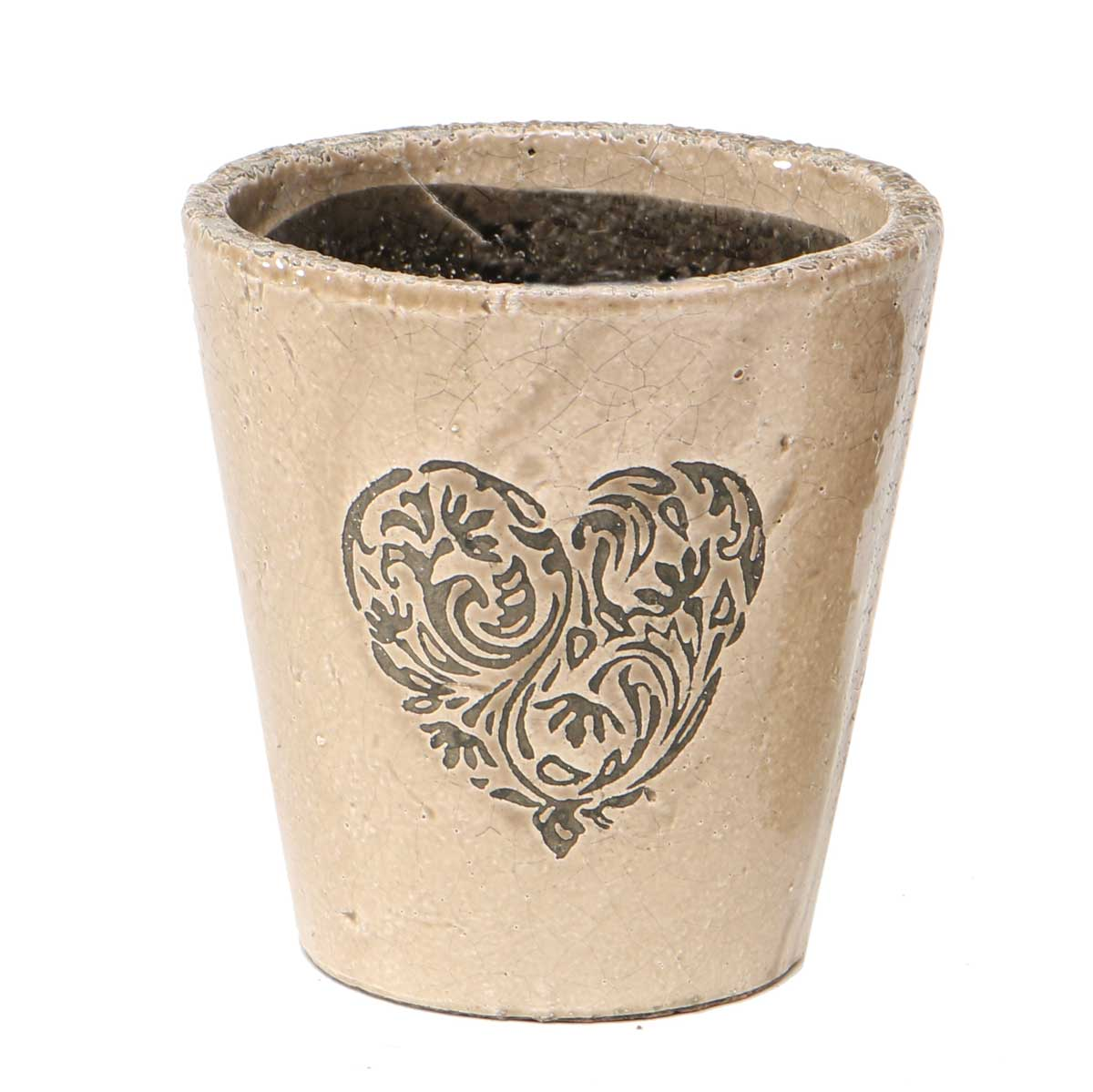 "Heart Scroll Pot Tan 4.5""x4.5"" A2067 TN v22"