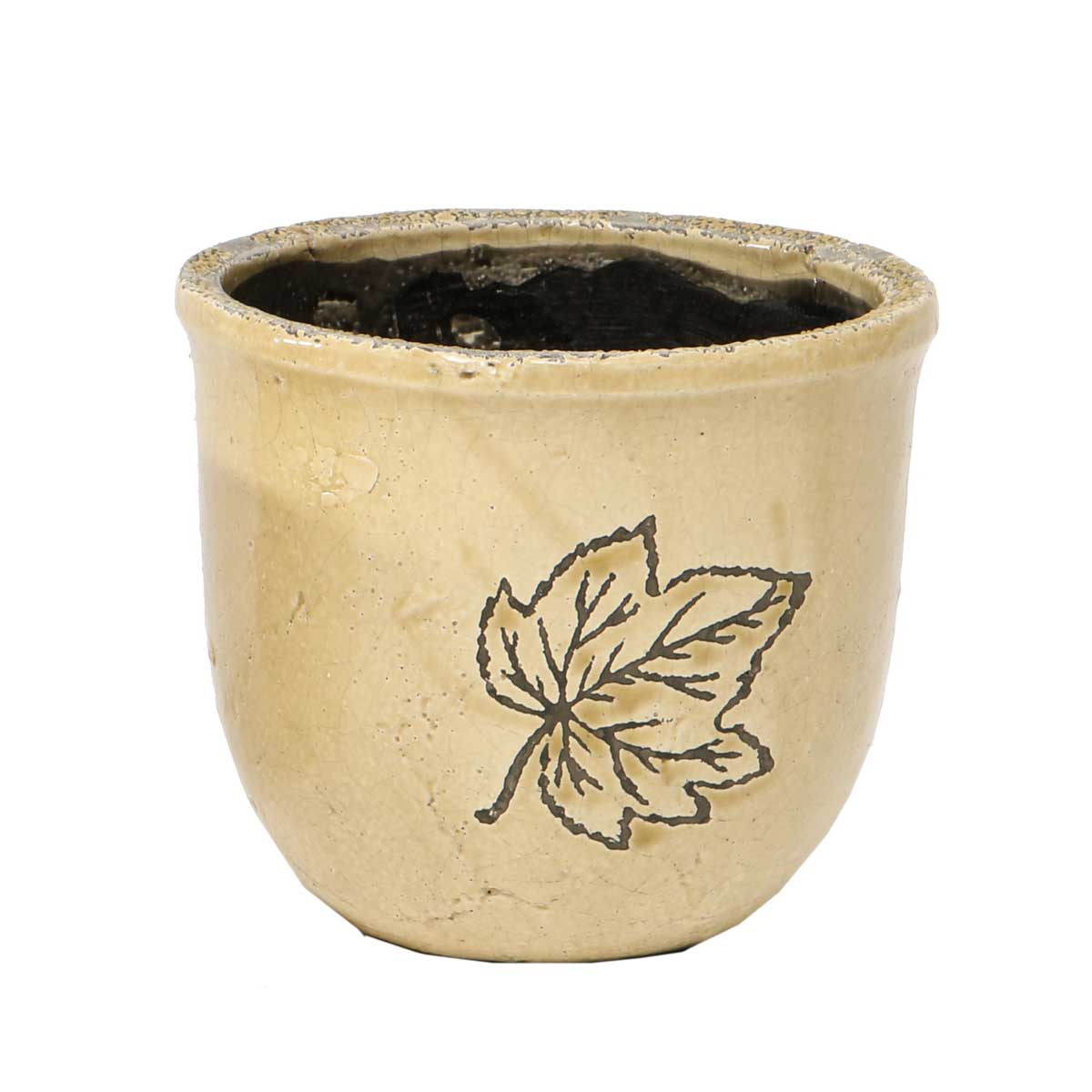 Ceramic Leaf Cache Pot 5.5�x6� A2069 TN