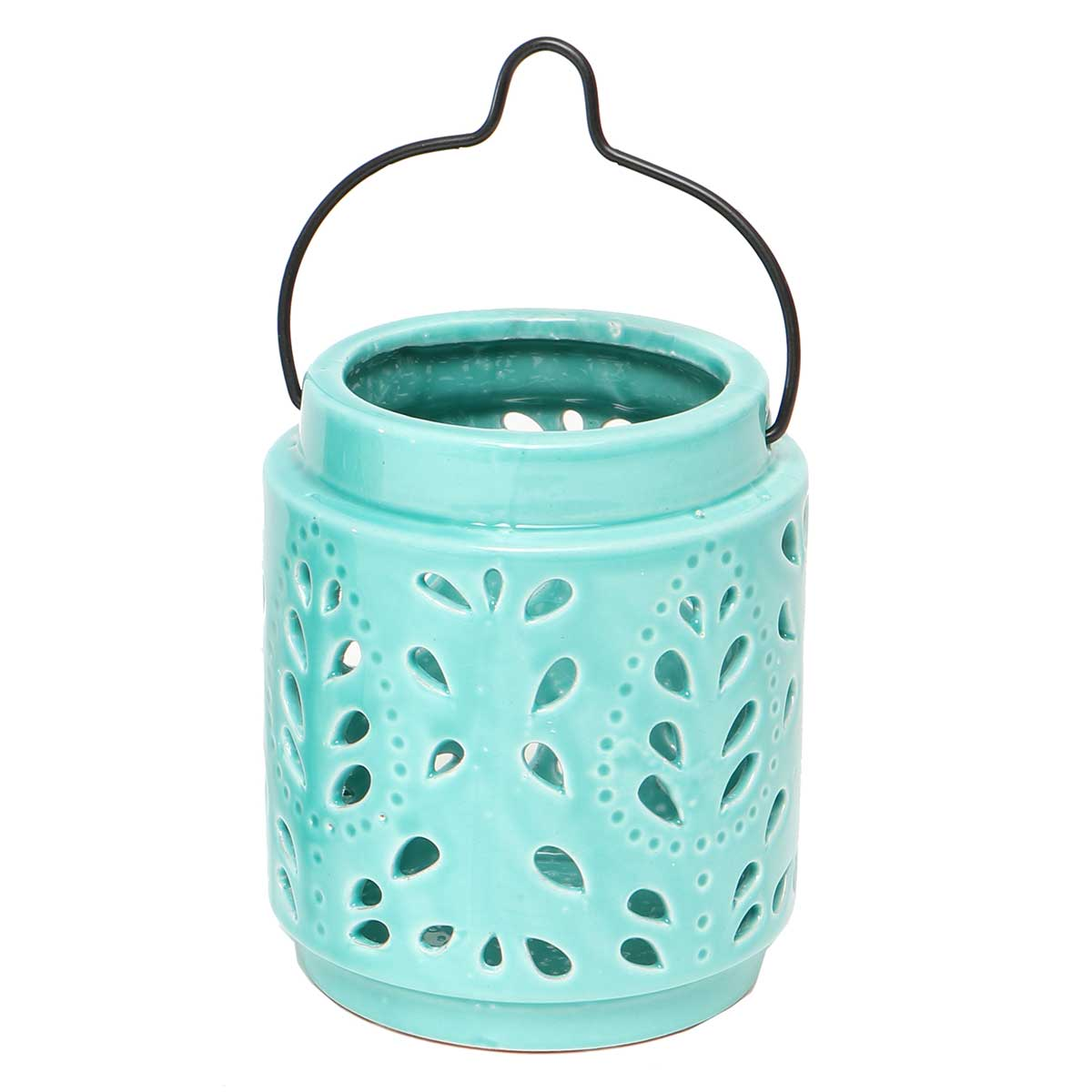 "PORTICO LANTERN TEAL WITH HANDLE 5""X5.5"""