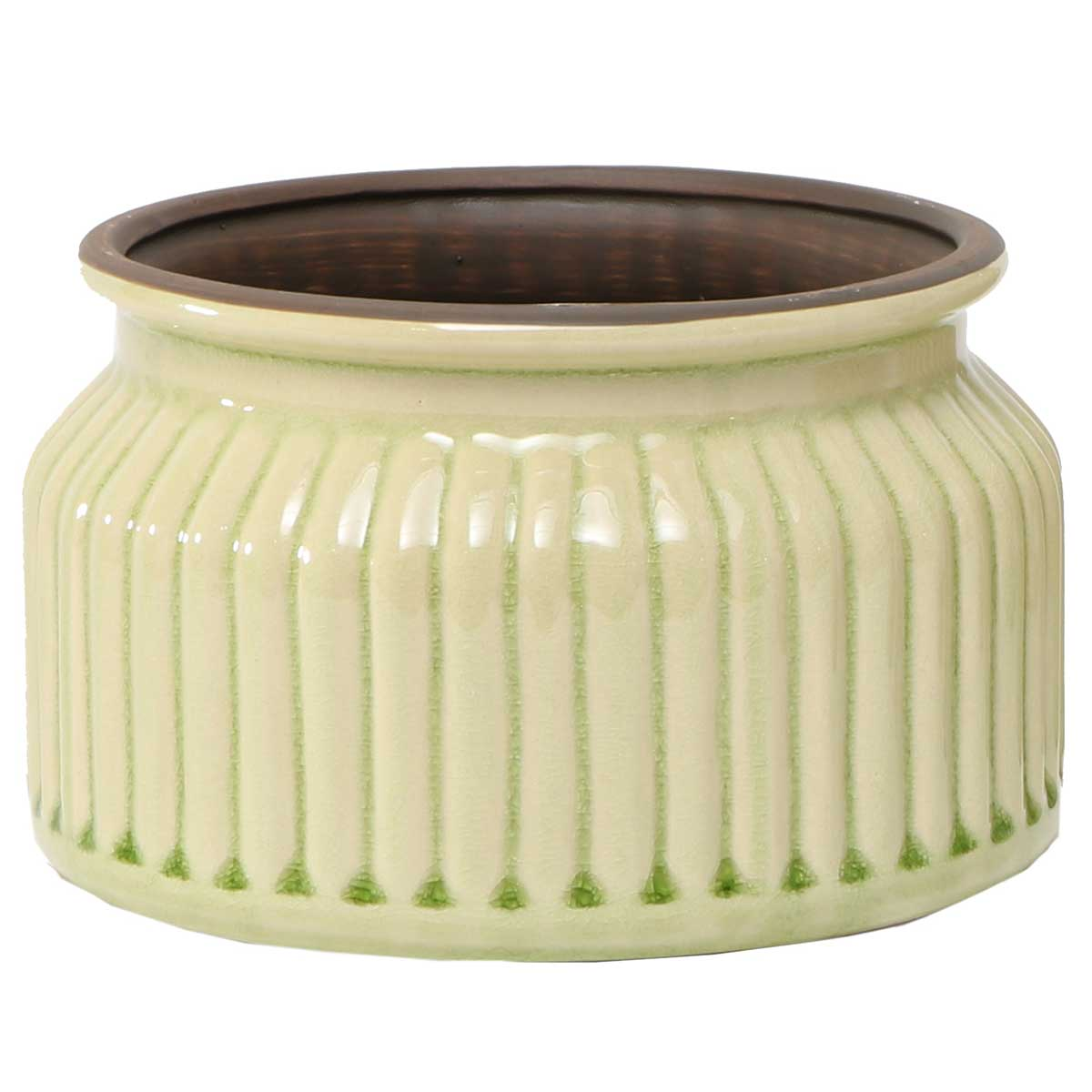 Green Ribbed Bowl 8�x4� A2079 GR