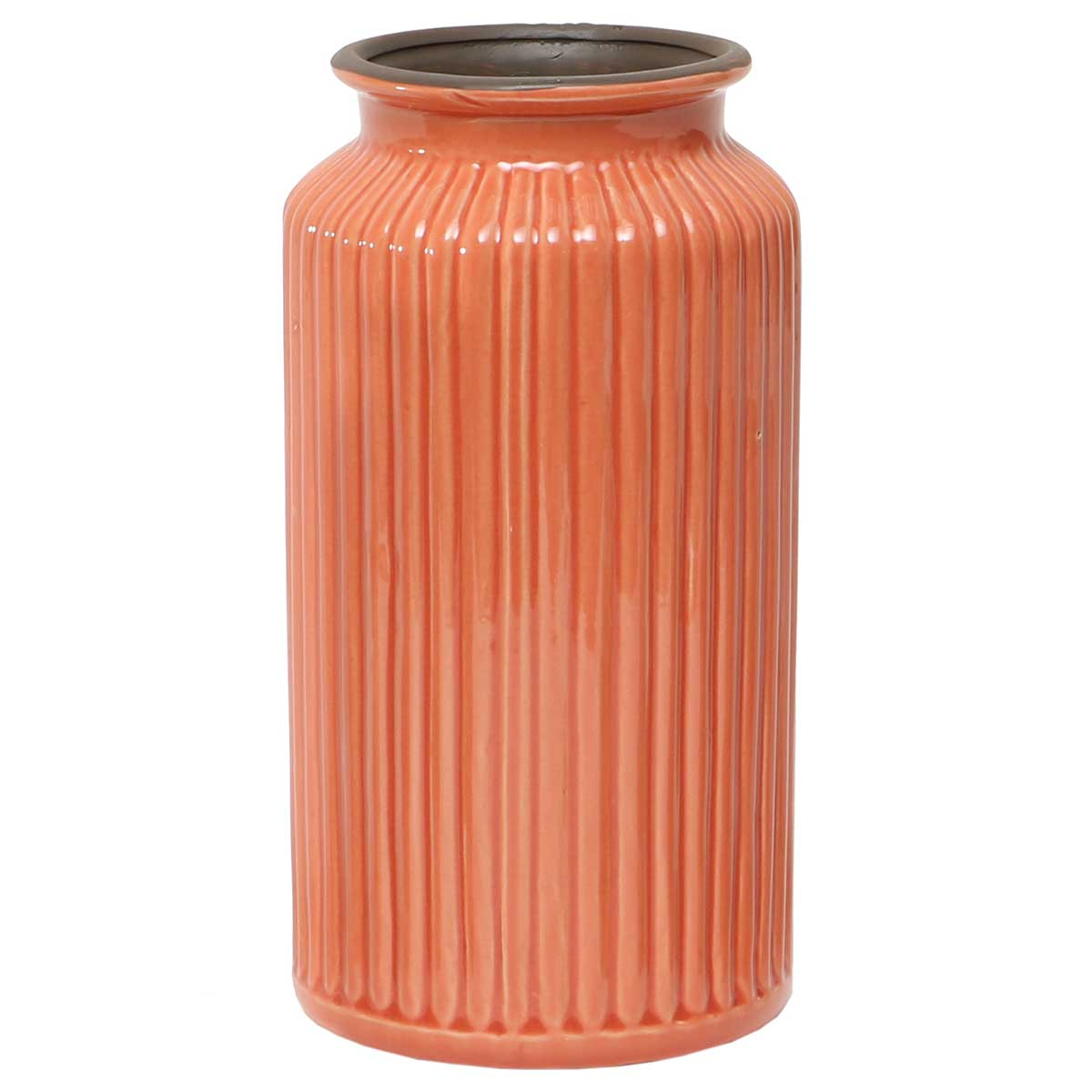 Peach Ribbed Vase 4.5�x10� A2087 PE v22
