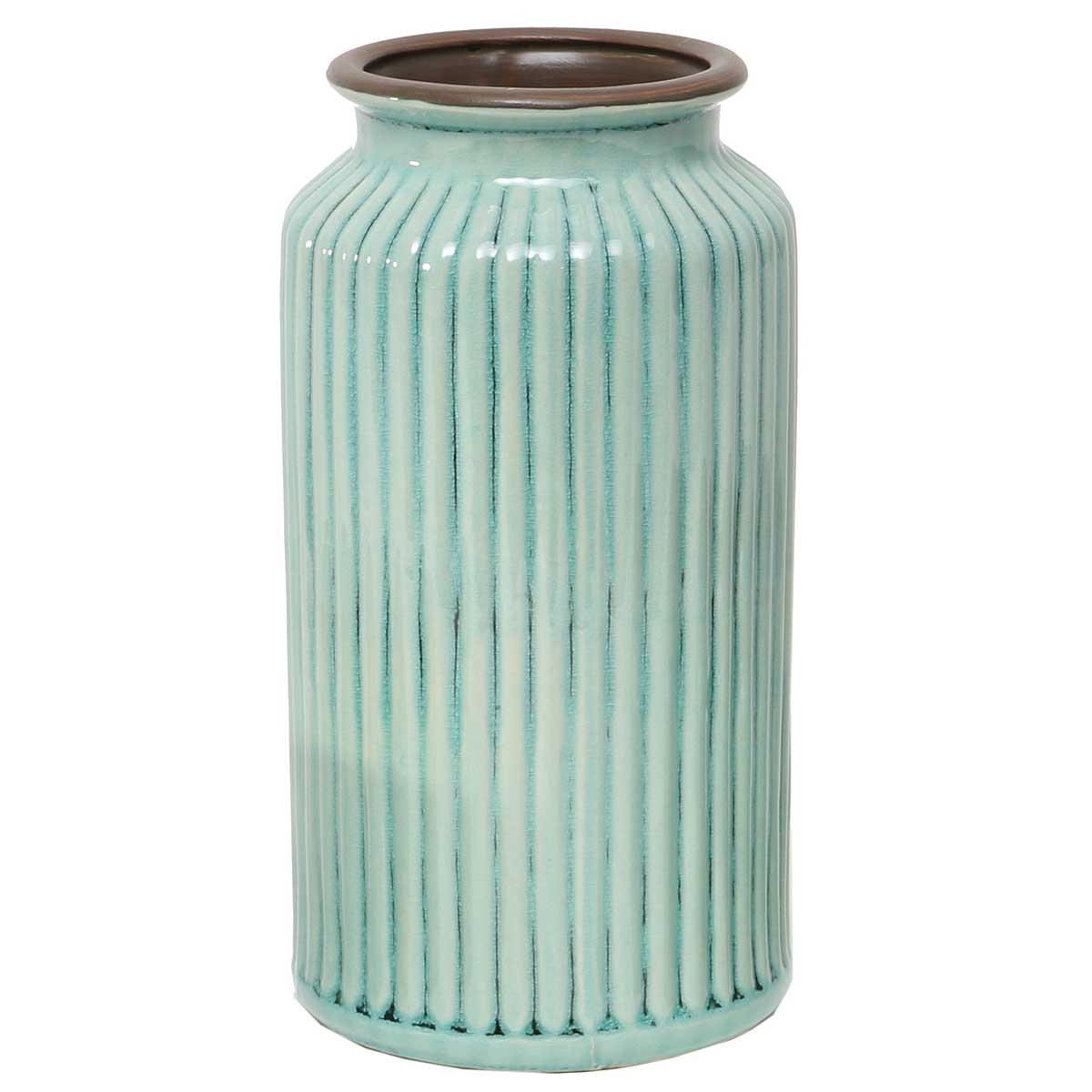 Teal Ribbed Vase 4.5�x10� A2087 TL