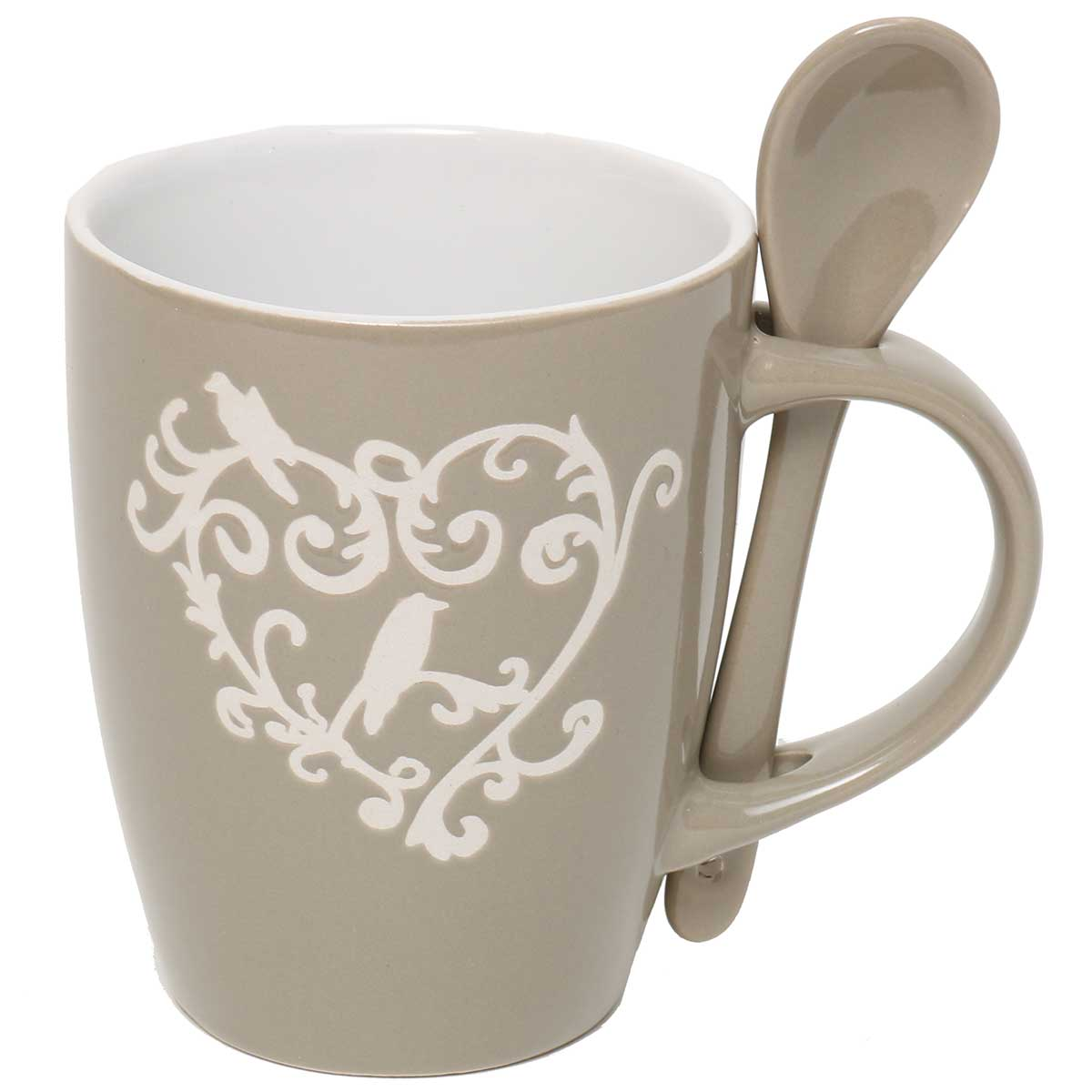 "PROVENCE MUG 4.5""X4"" with Spoon 1""x5"" Taupe/Cream A2109 70sp"