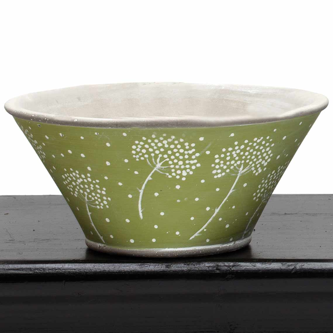 "DANDELION BOWL 7""X3.25"" GREEN"