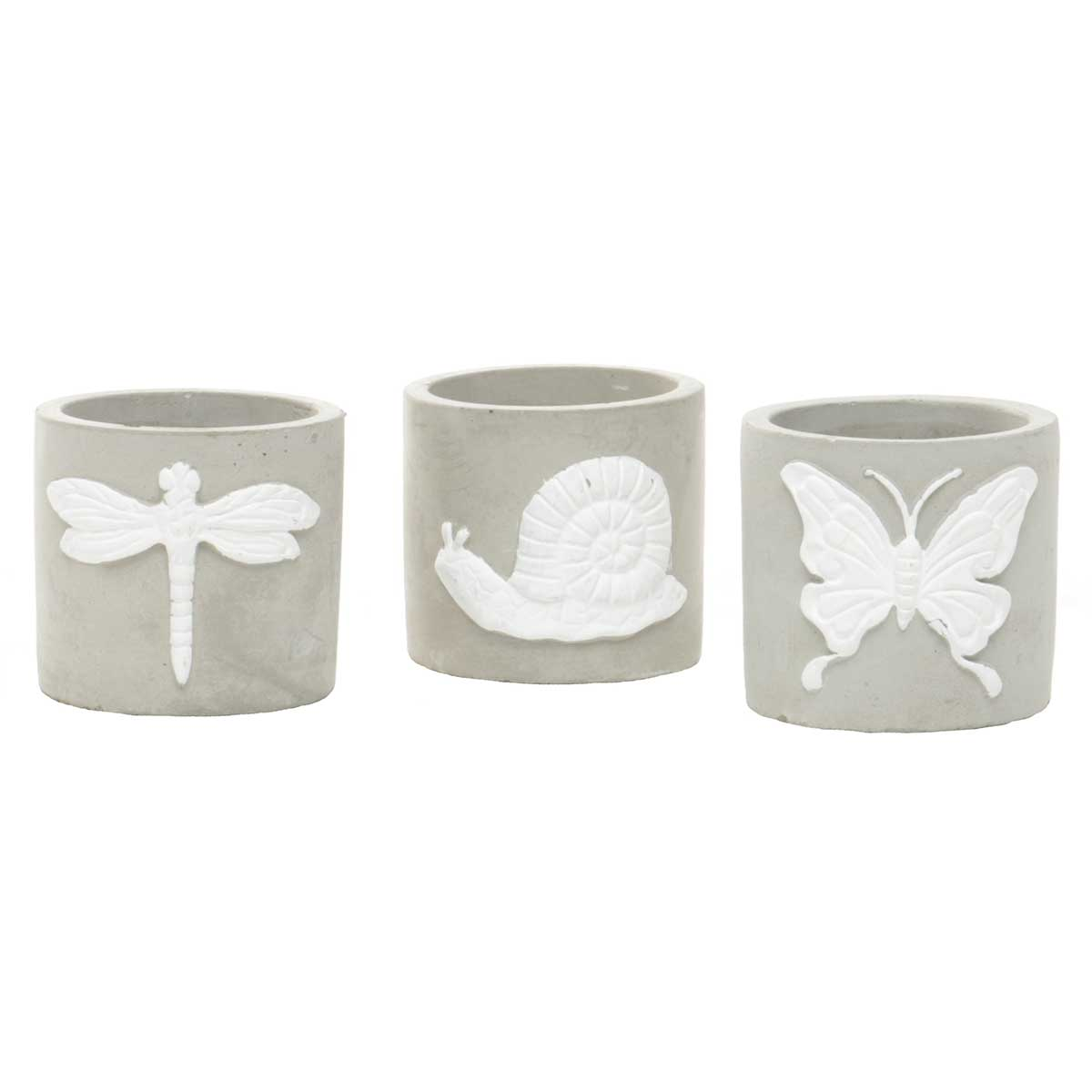 "GARDEN FRIENDS POT 3""X2.75"" SET OF 3"