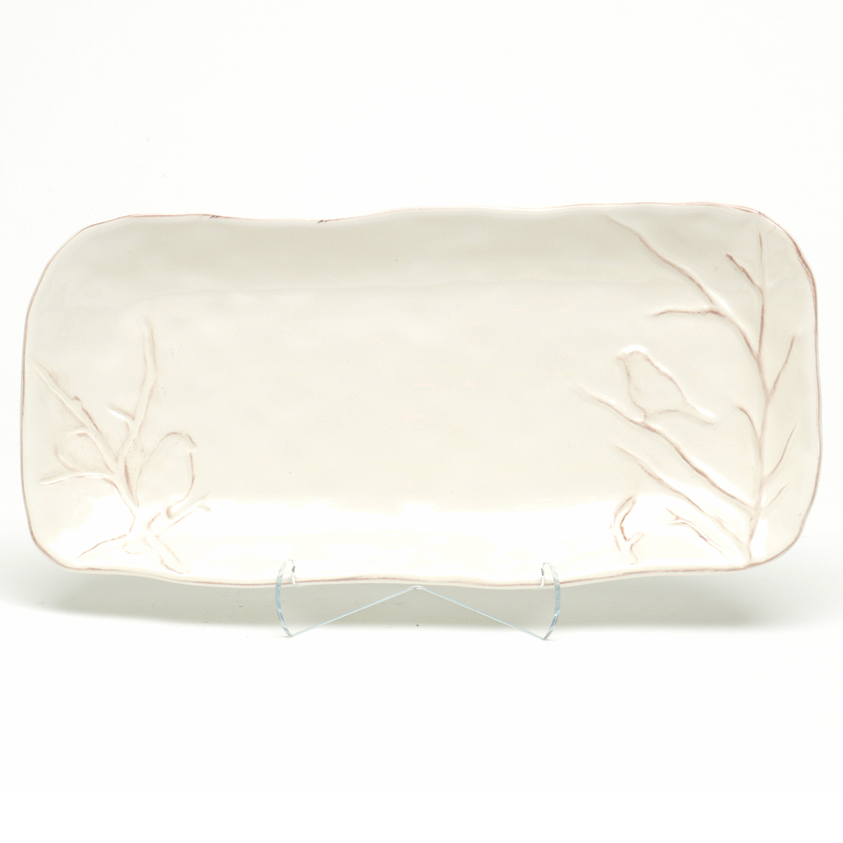 "FARMHOUSE BIRD WITH TWIG DESIGN PLATTER 6.5""X13"" CREAM"