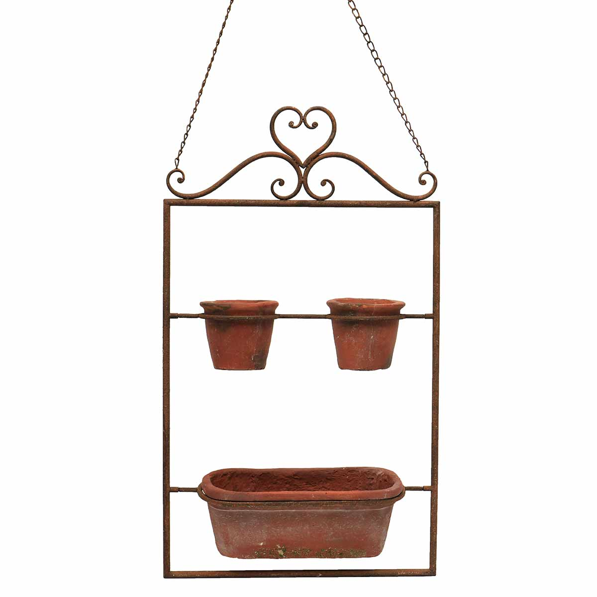 """HANGING PLANTER WITH TERRA COTTA POTS 16""""X5.25""""X27"""""""
