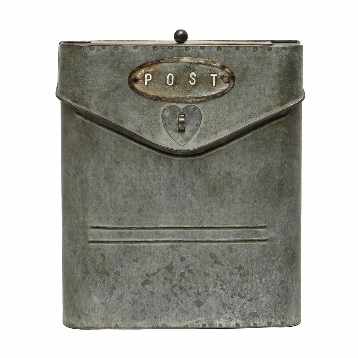 SQUARE POST BOX WEATHERED METAL