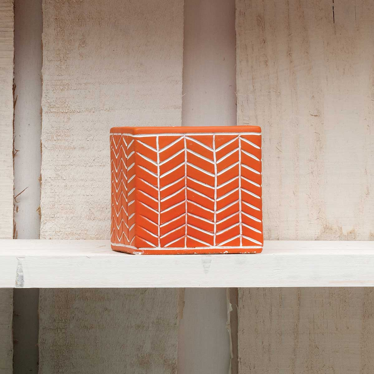 "CHEVRON SQUARE POT 3"" CORAL"