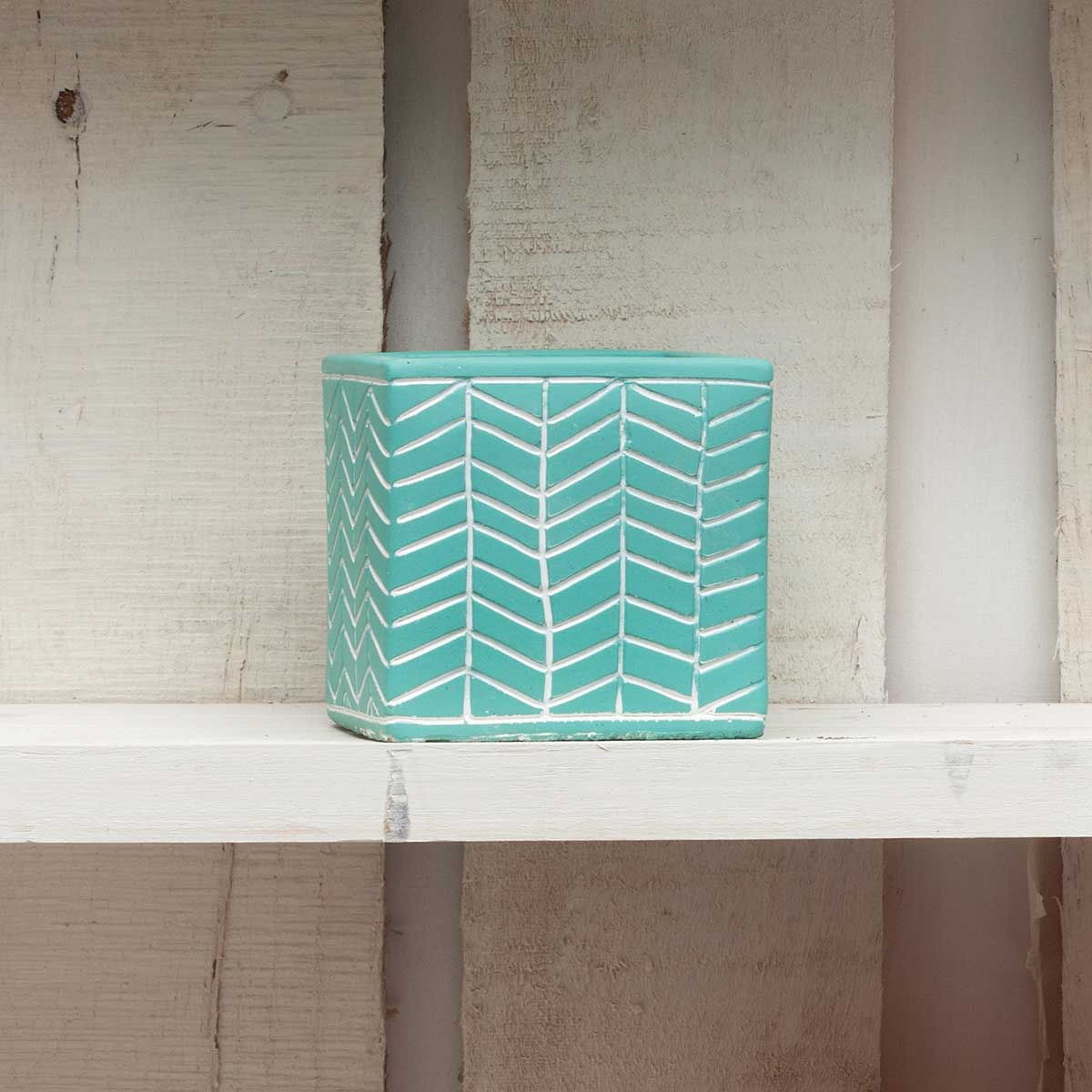 "CHEVRON SQUARE POT 3"" TEAL"