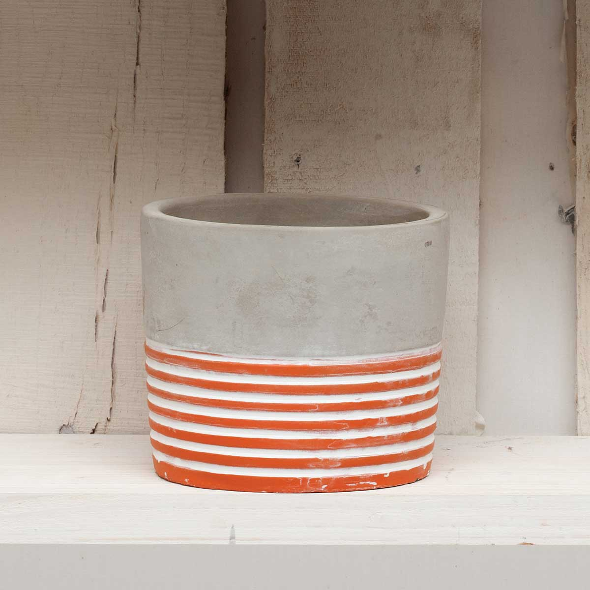 "STRIPE ROUND POT 4"" CORAL"