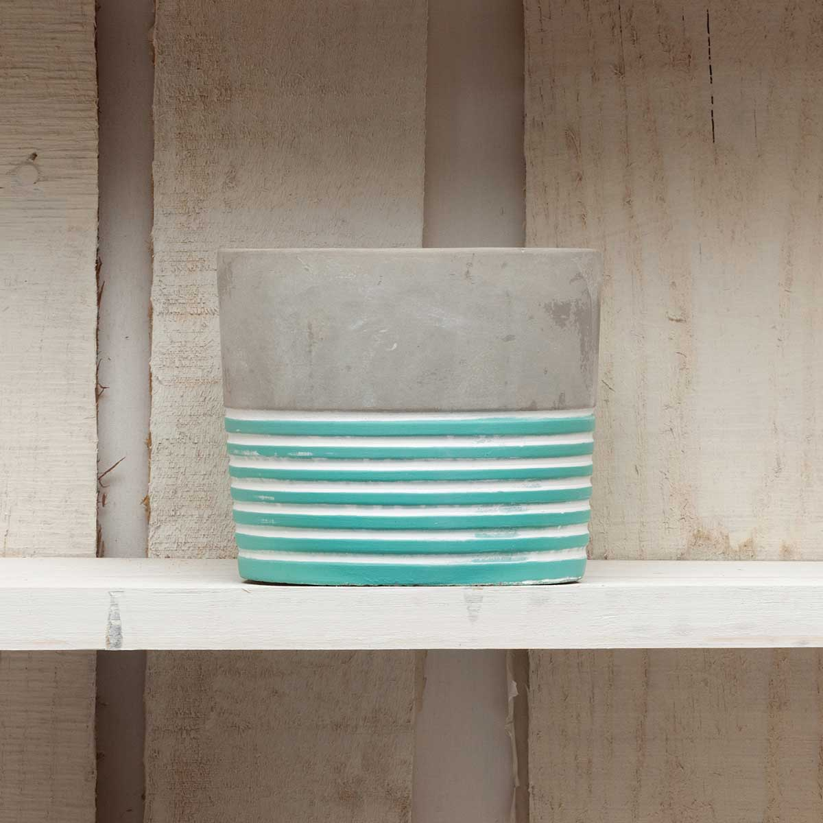 "STRIPE ROUND POT 4"" TEAL"