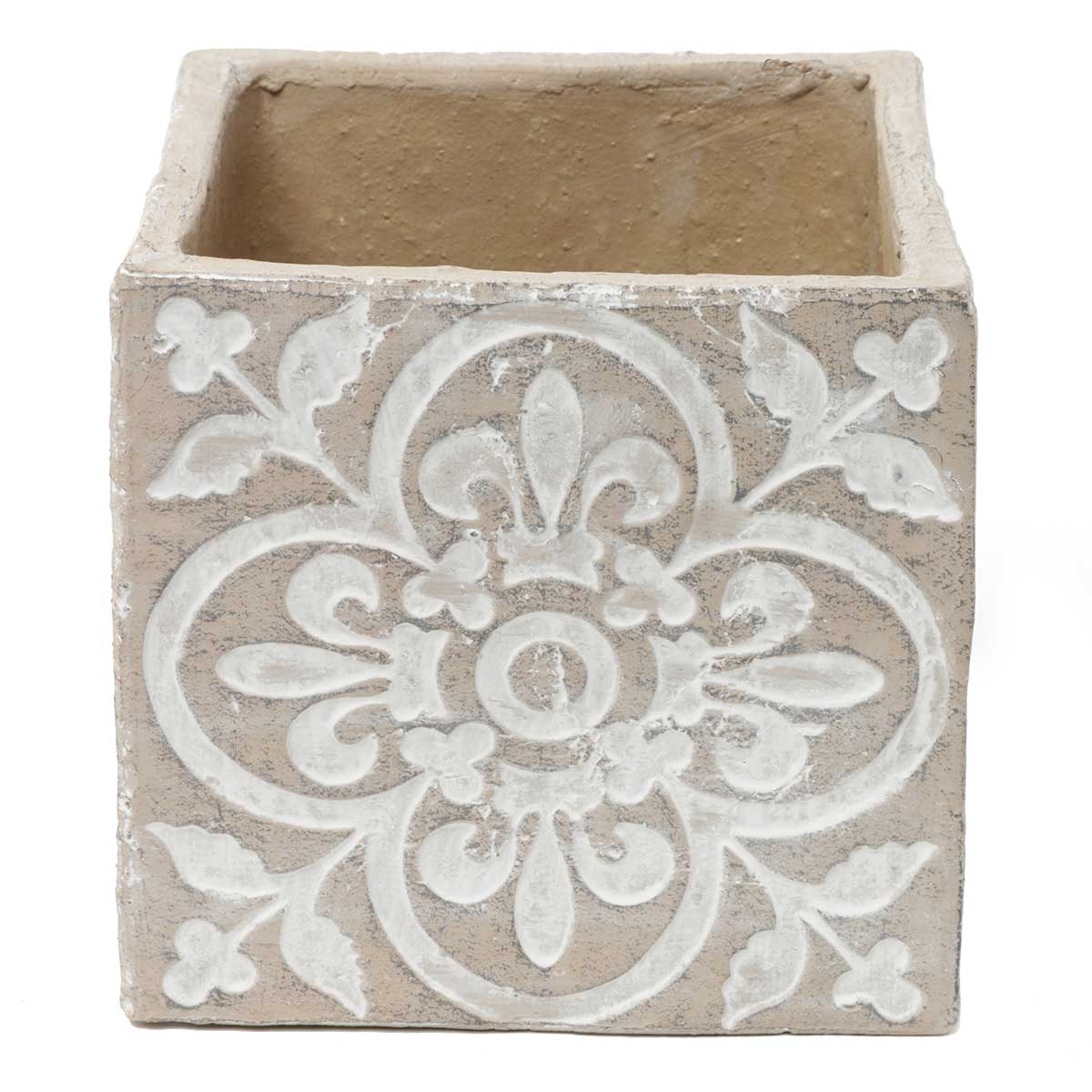 "DECORATIVE SQUARE FLORAL MEDALLION POT 6.75""X6.75"" TAN/WHITE"