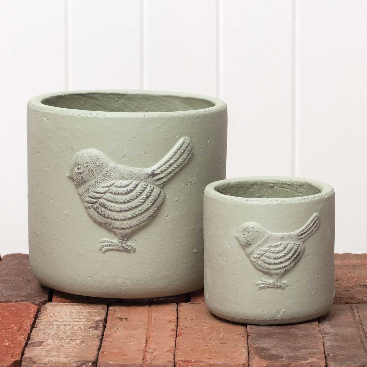 "DECORATIVE CHICKADEE ROUND GREEN POT 6.5""X6""/4""X4"" SET OF 2"
