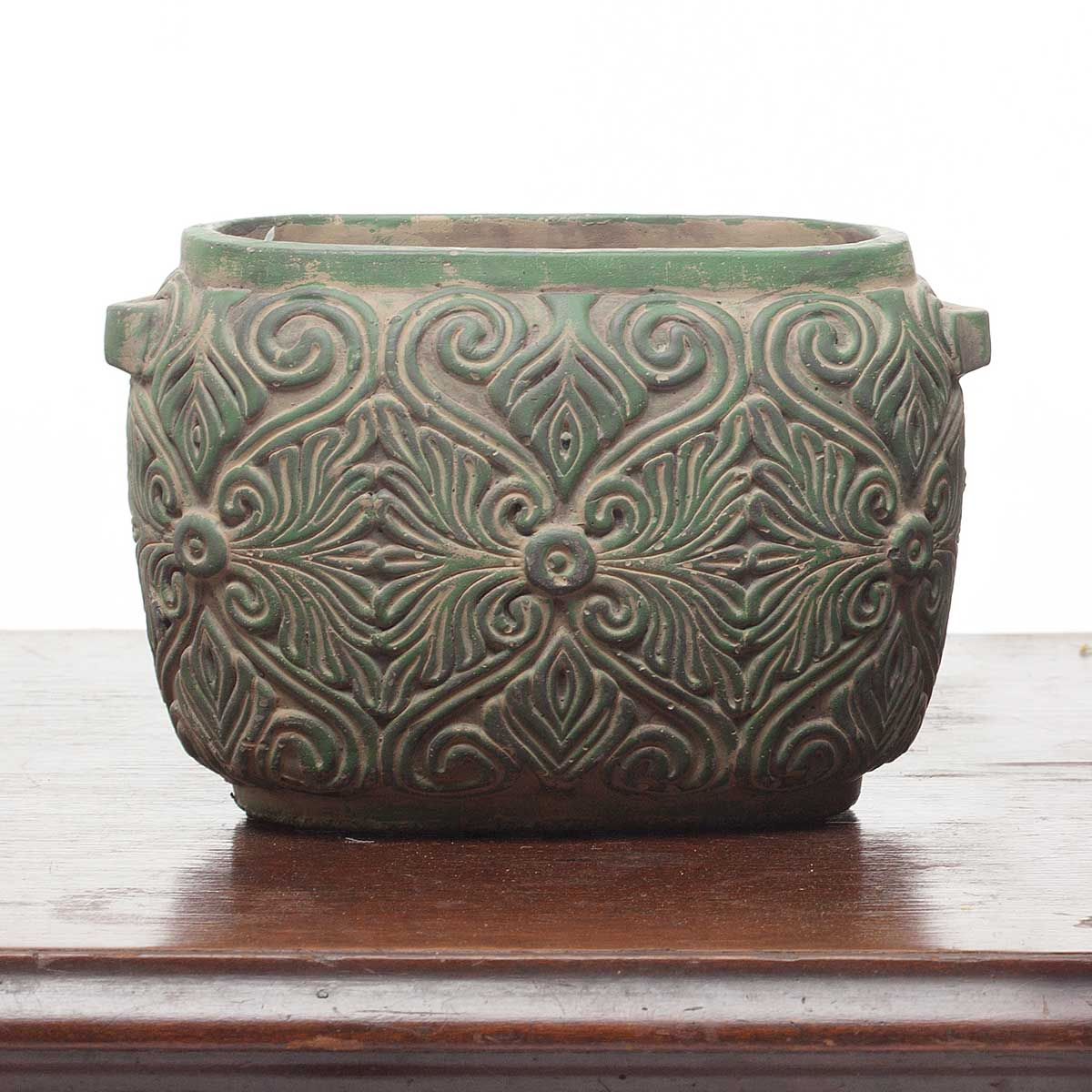 "DECORATIVE VERDE SCROLL OVAL PLANTER/POT 8""X5""X6"""
