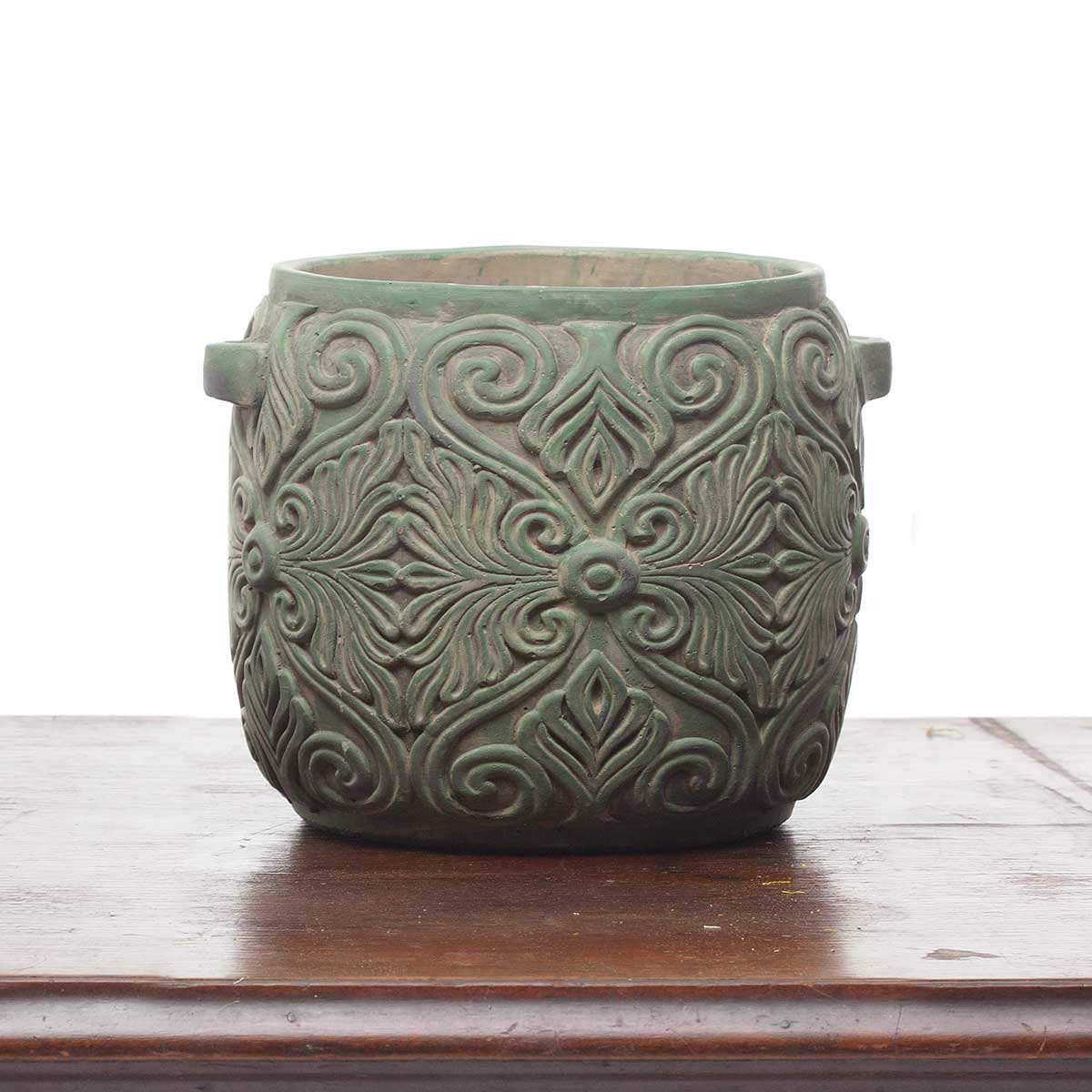 "DECORATIVE VERDE SCROLL ROUND PLANTER/POT 8""X7"""