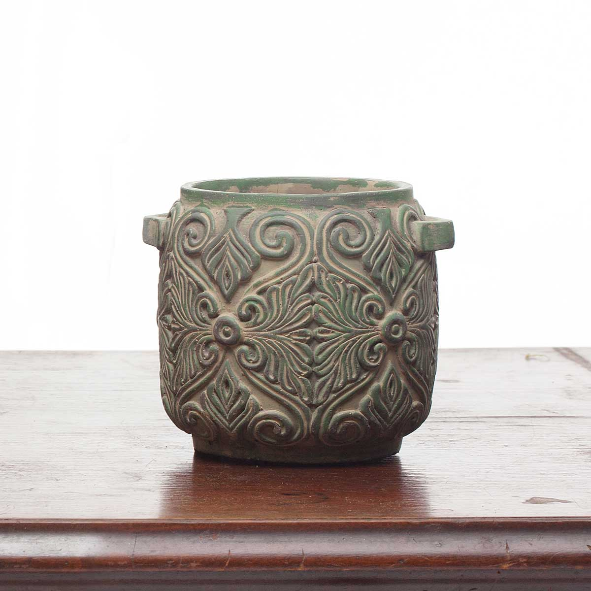 "DECORATIVE VERDE SCROLL PLANTER/POT 5.75""X5"""