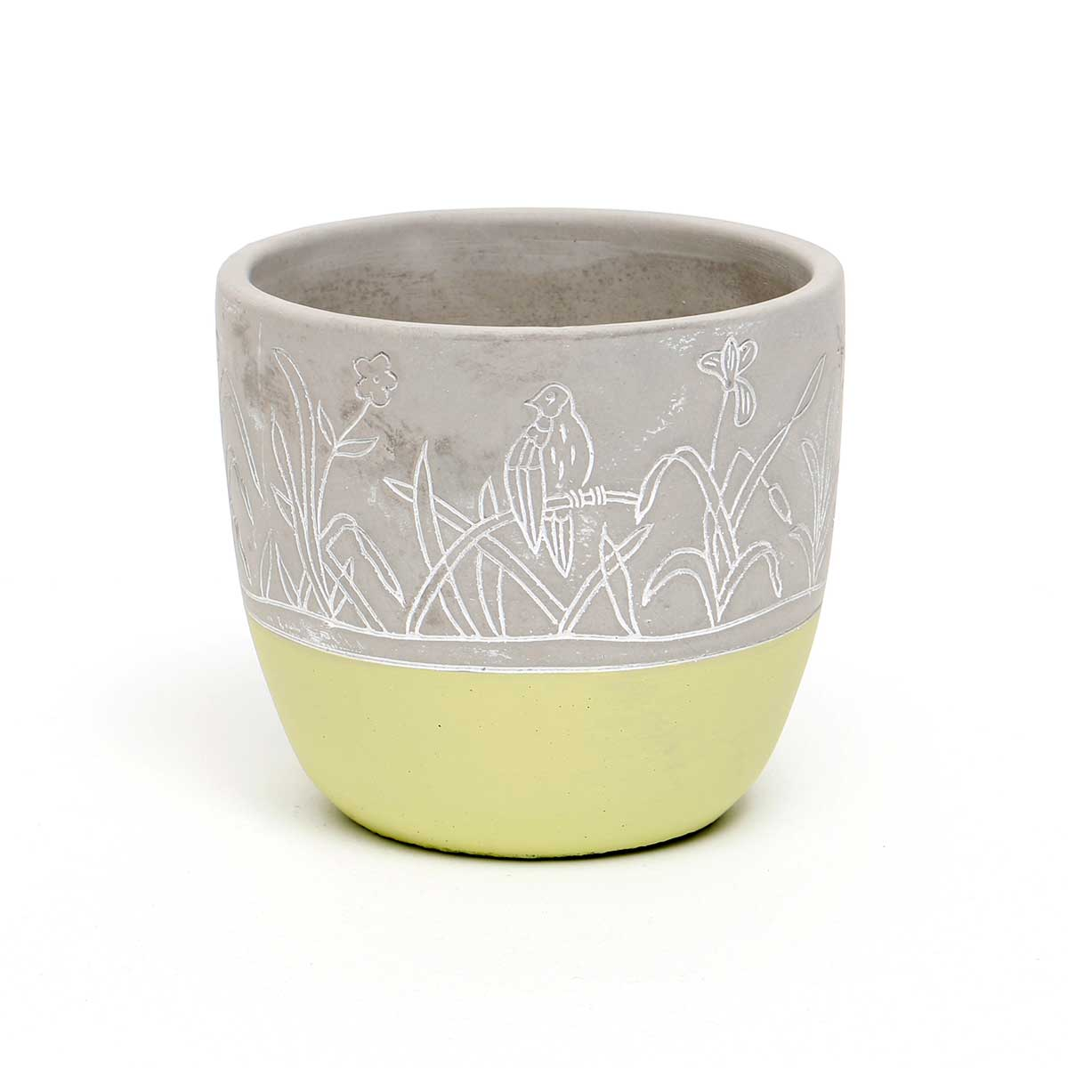CONCRETE ETCHED POT WITH GREEN BOTTOM