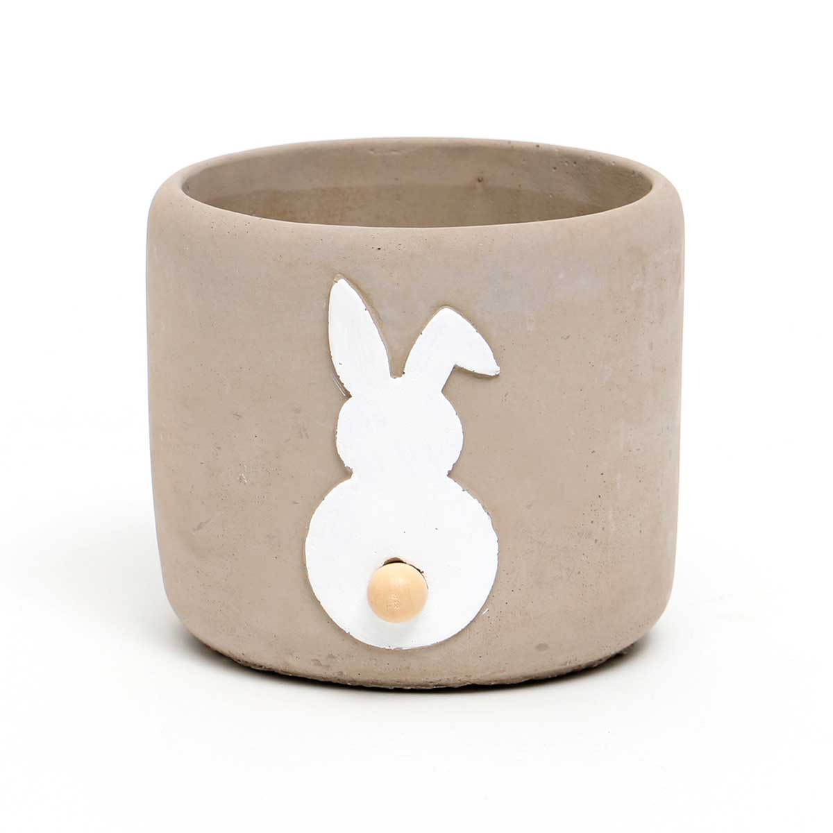 CONCRETE BUNNY POT WITH WOOD TAIL