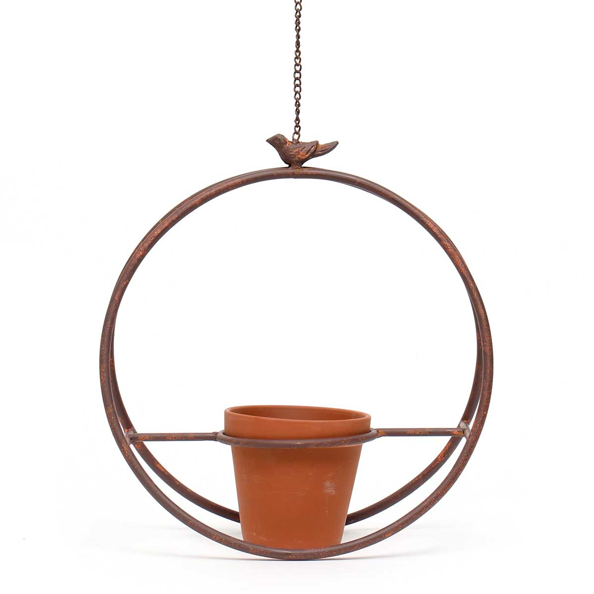 """METAL GARDEN HANGING CIRCLE WITH 20"""" CHAIN/HOOK AND CLAY POT"""