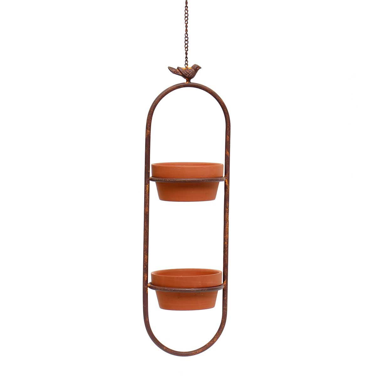 """METAL GARDEN HANGING OBLONG PLANTER WITH 23"""" CHAIN/HOOK AND"""