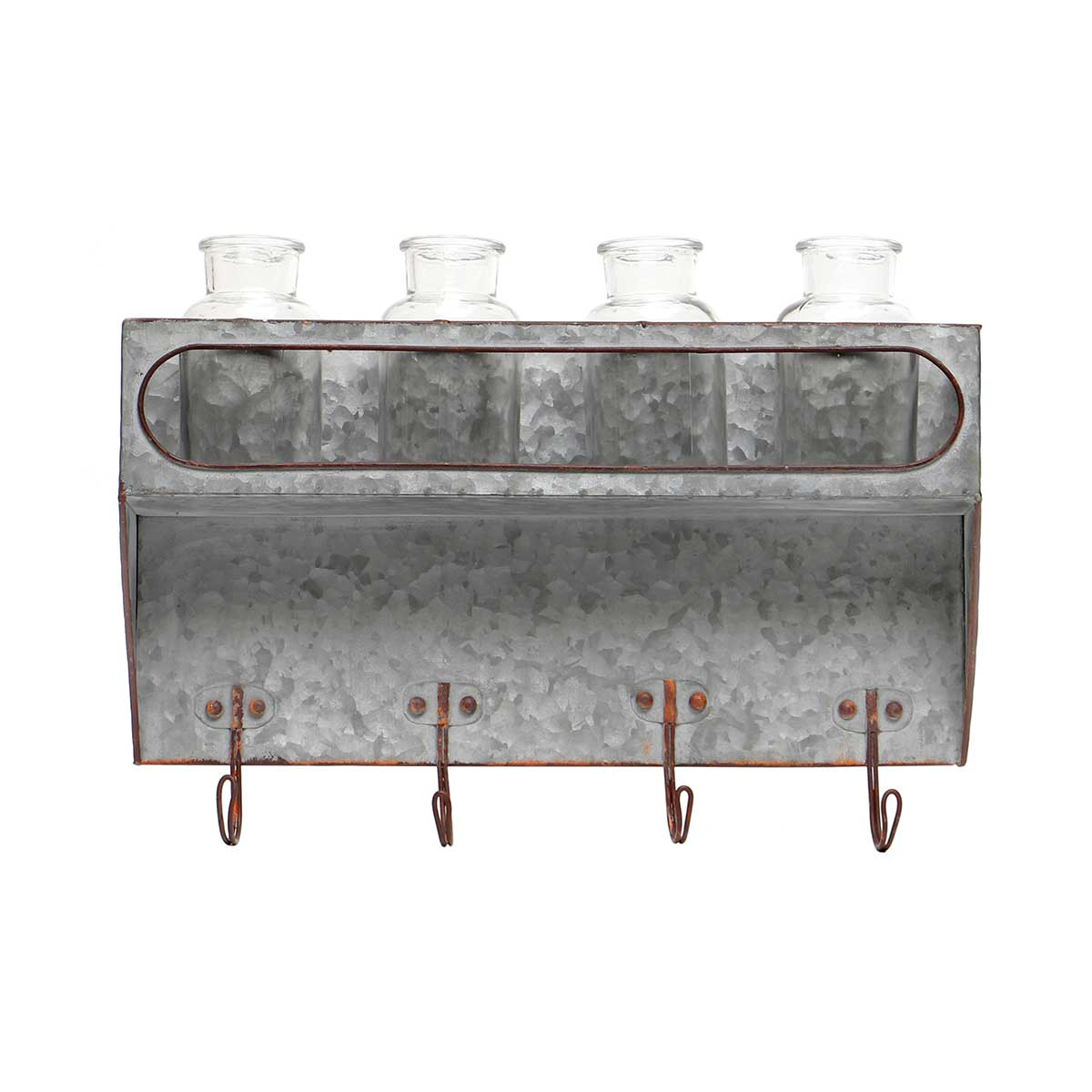 """METAL WALL PIECE WITH 4 GLASS BOTTLES AND HOOKS 15.5""""x3.5""""x11"""""""