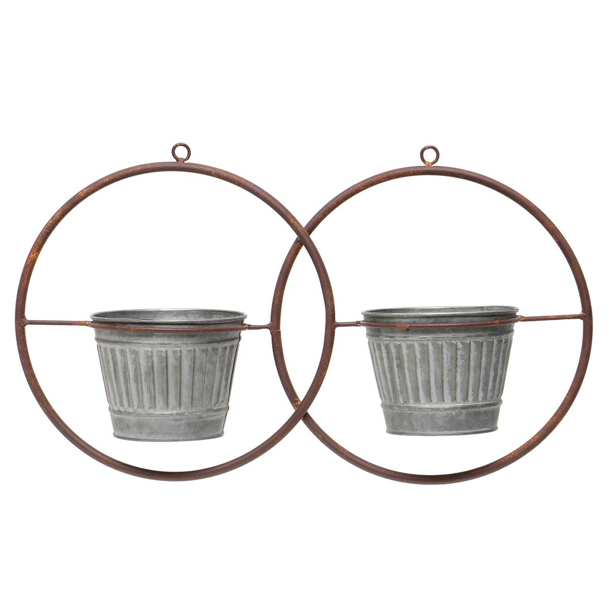IN BLOOM METAL HANGING DOUBLE CIRCLE PLANTER WITH 2 METAL