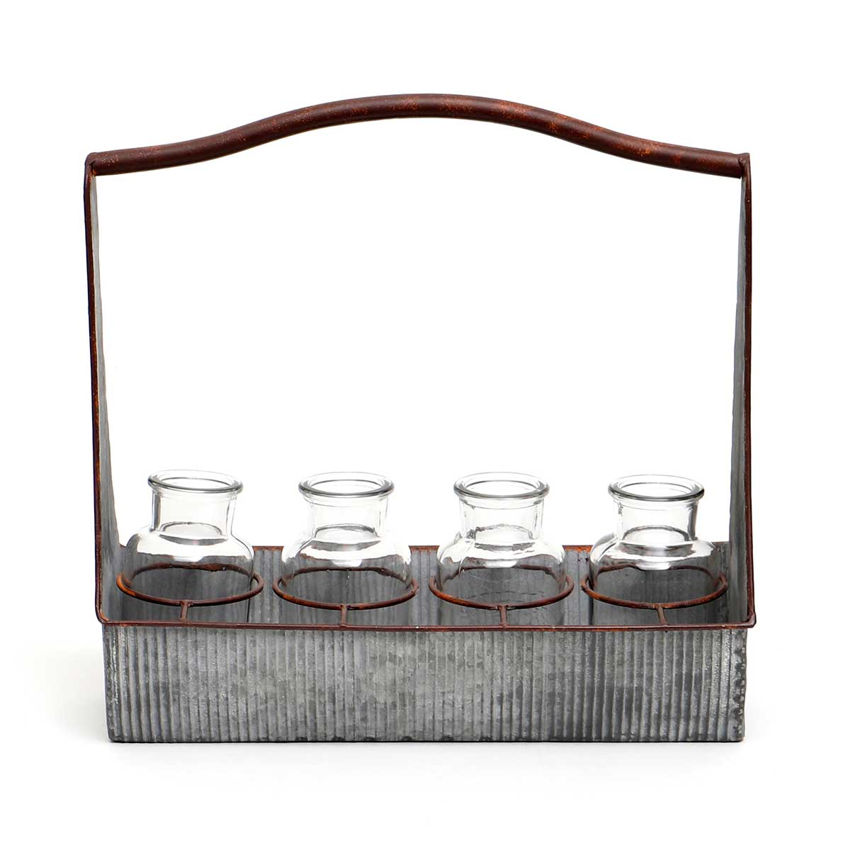 IN BLOOM METAL CARPENTER TRAY WITH 4 GLASS BOTTLES