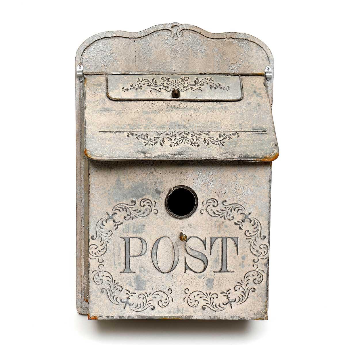 PEWTER METAL DECORATIVE POST BOX BIRDHOUSE ON WOOD