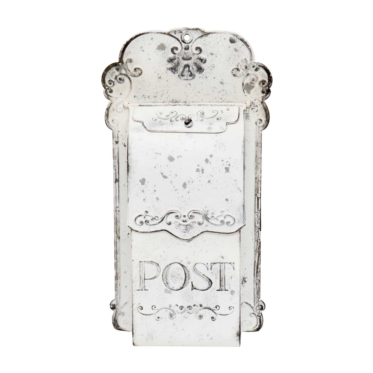 "ANTIQUE WHITE METAL DECORATIVE POST BOX 10""x3""x18"""