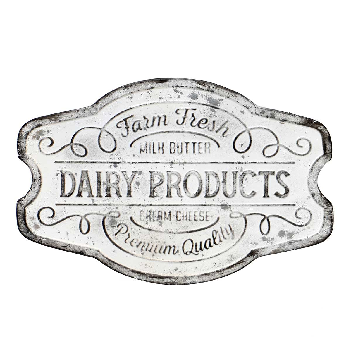 "ANTIQUE WHITE METAL DAIRY PRODUCTS SIGN 17.5""x.25""x12"""