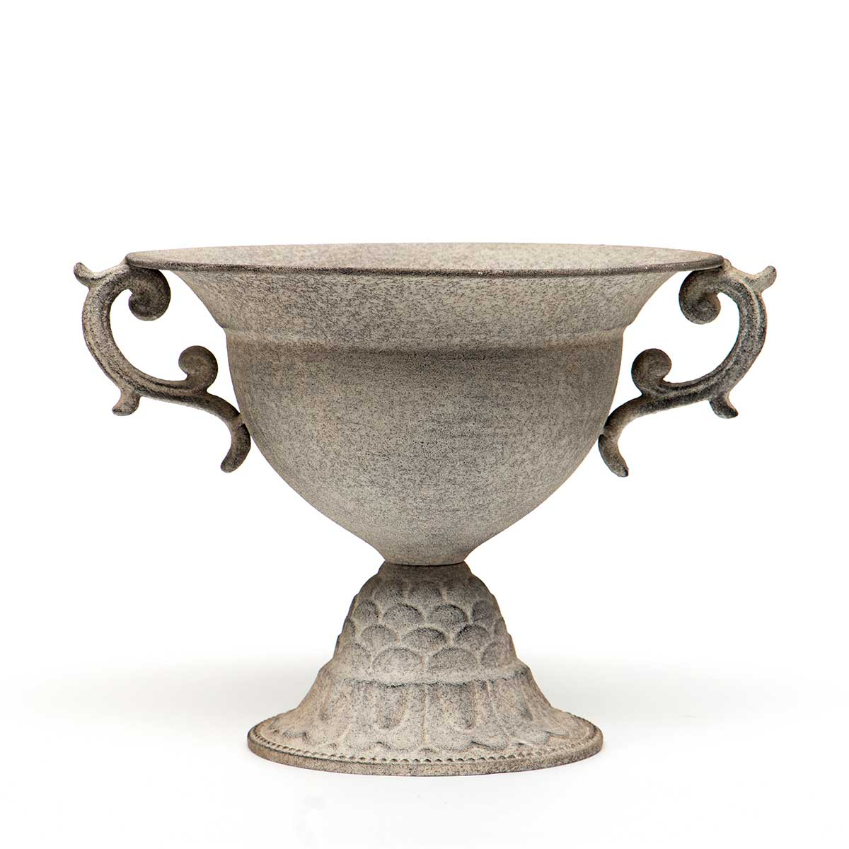 "GRANITE FINISH METAL BOWL URN WITH HANDLES 12.25""x10.5""x8.75"""