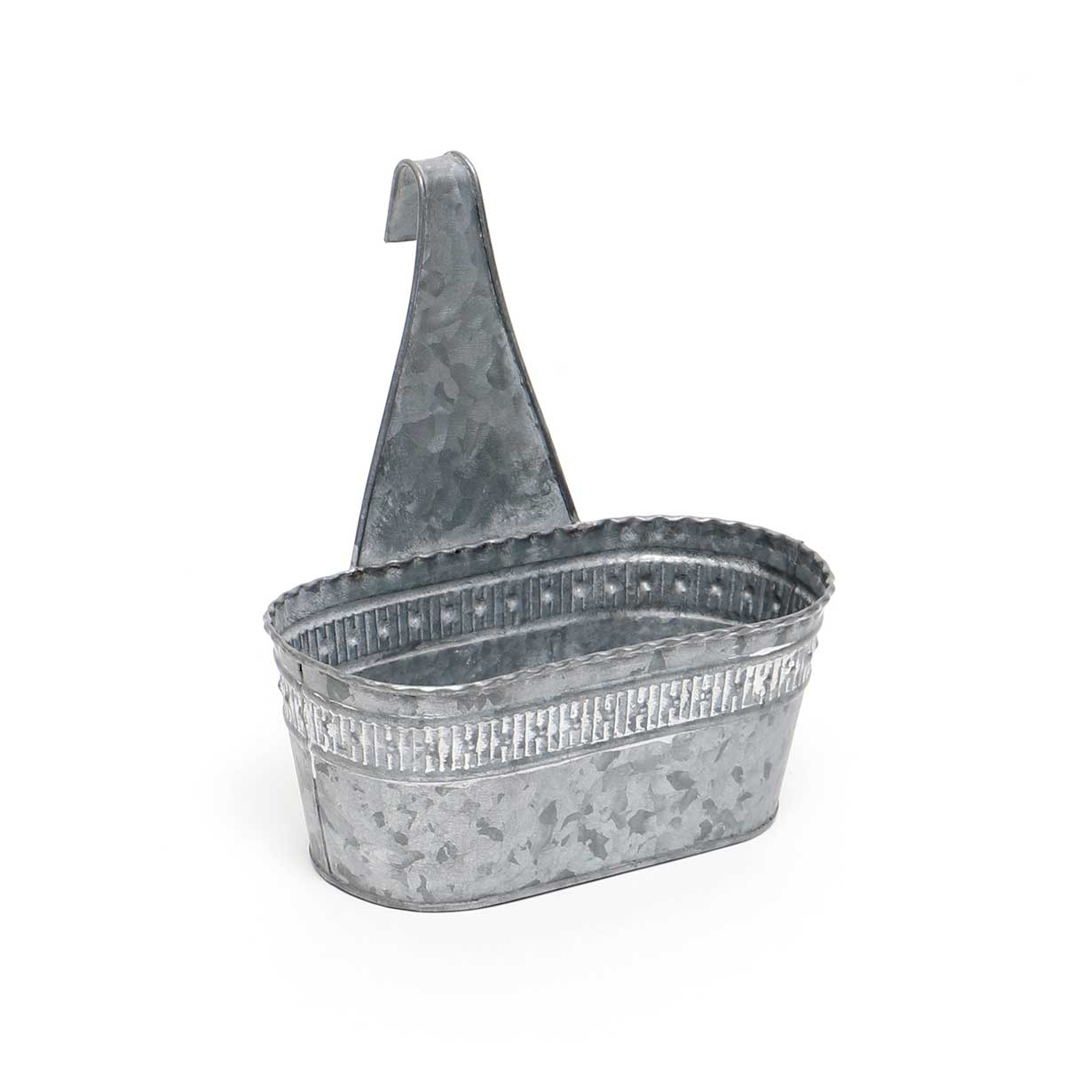 "METAL OVAL PORCH PLANTER SMALL 8.5""X4.25""X9.25"""