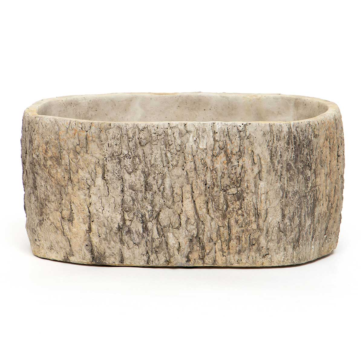 OVAL CONCRETE LOG POT