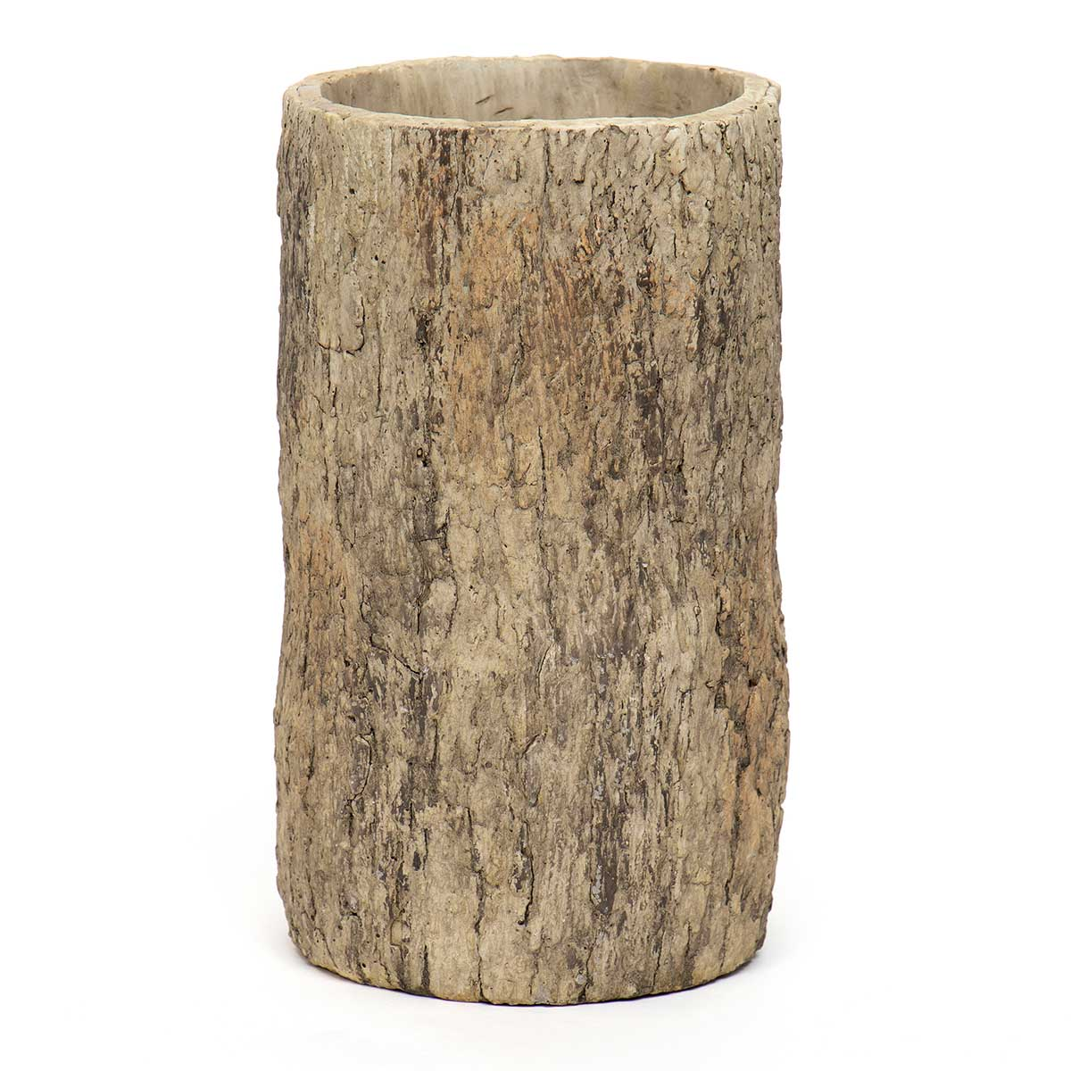 TALL ROUND CONCRETE LOG POT