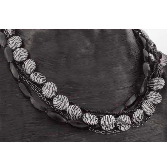 "Zebra Stripe Beaded 5 Strand Choker 16"" 60sp"