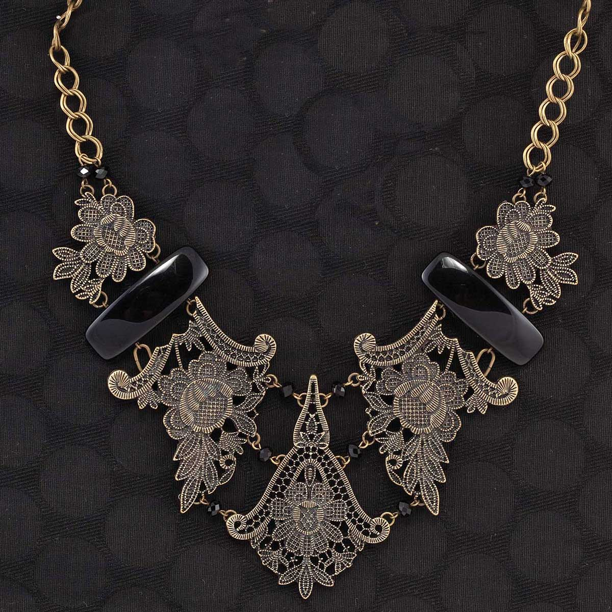 "Lacey Necklace With Black Stones 20""-23"" Bronze *30sp"