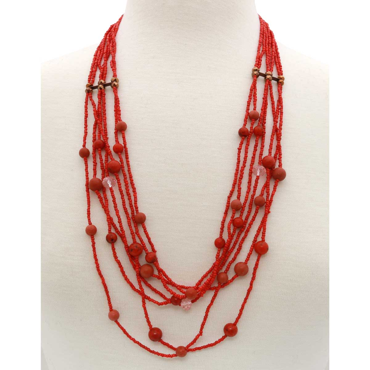 "7 Strand Bead Necklace 28""-31"" Coral *30sp"