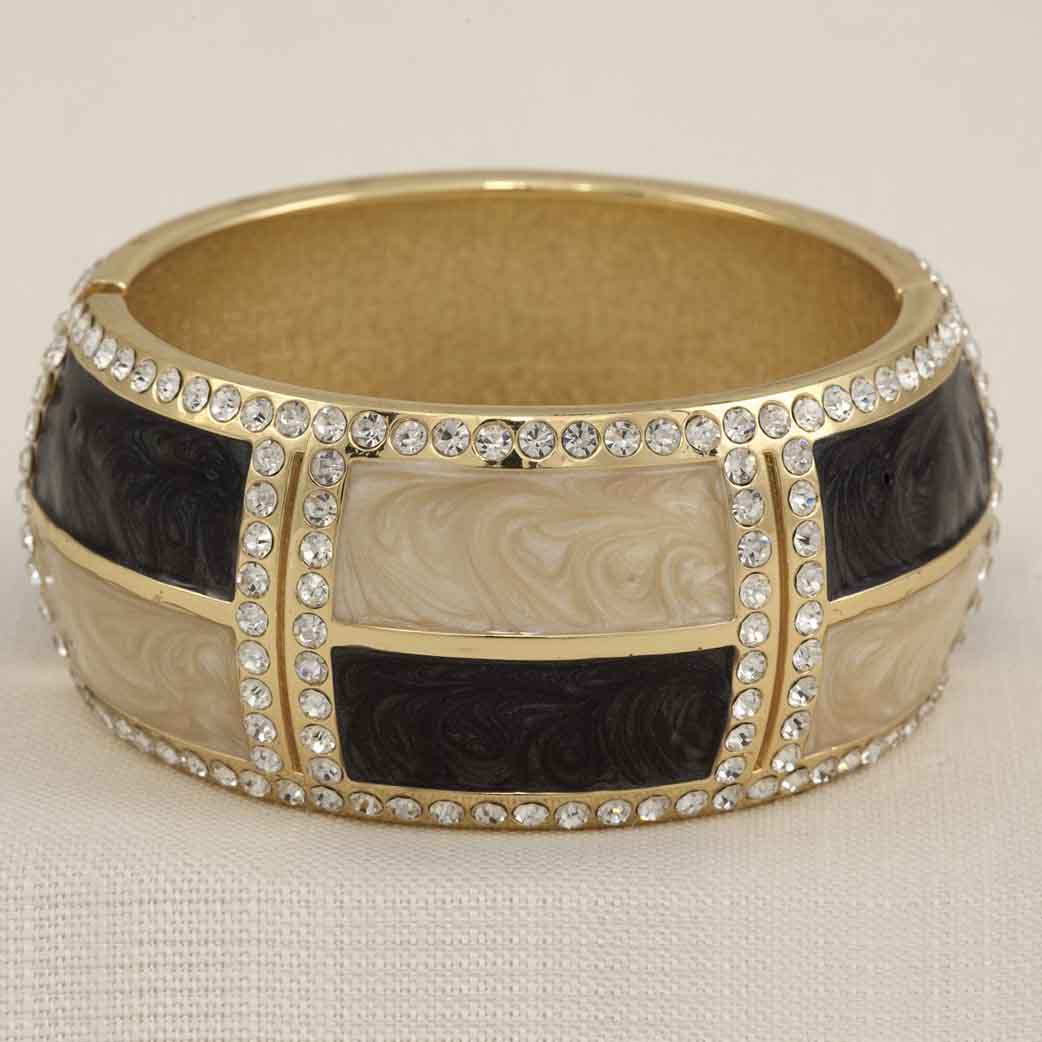 "Enamel Hinged Bracelet Black And Cream With Crystals 7"" 30sp"