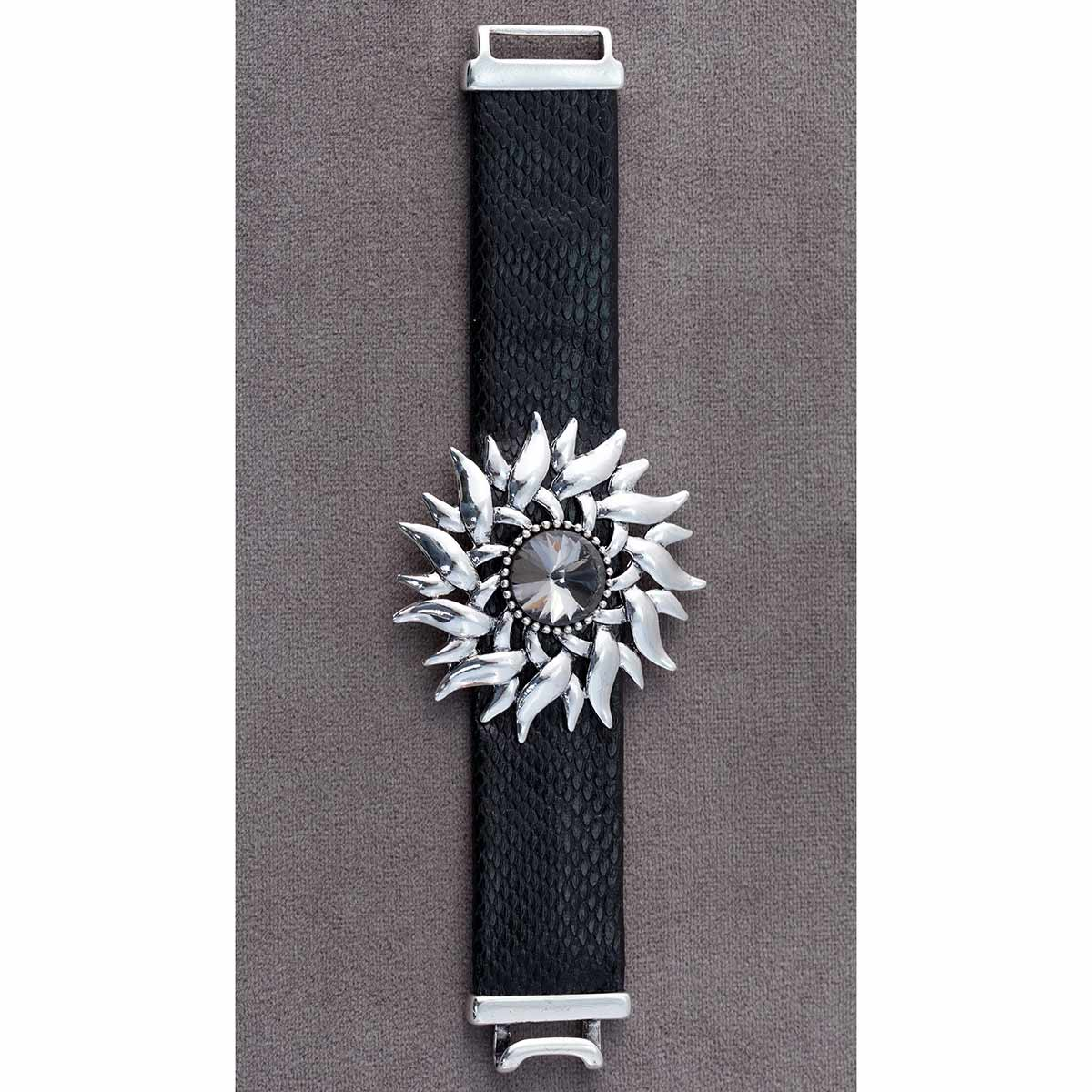 "Starburst With Black Crystal Bracelet 8"" 70sp"