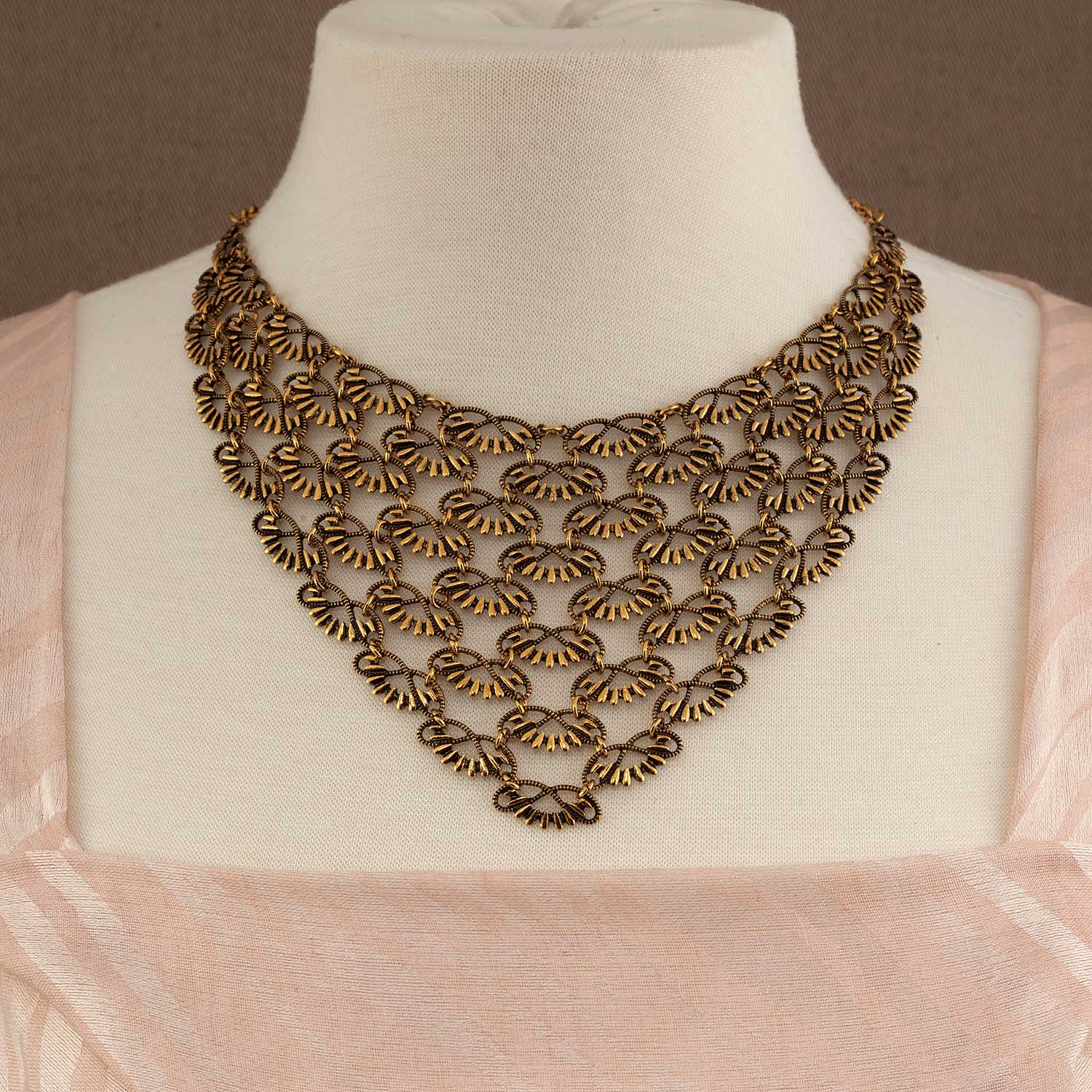 "Antique Gold Filigree Necklace 17""-19"" 70sp"
