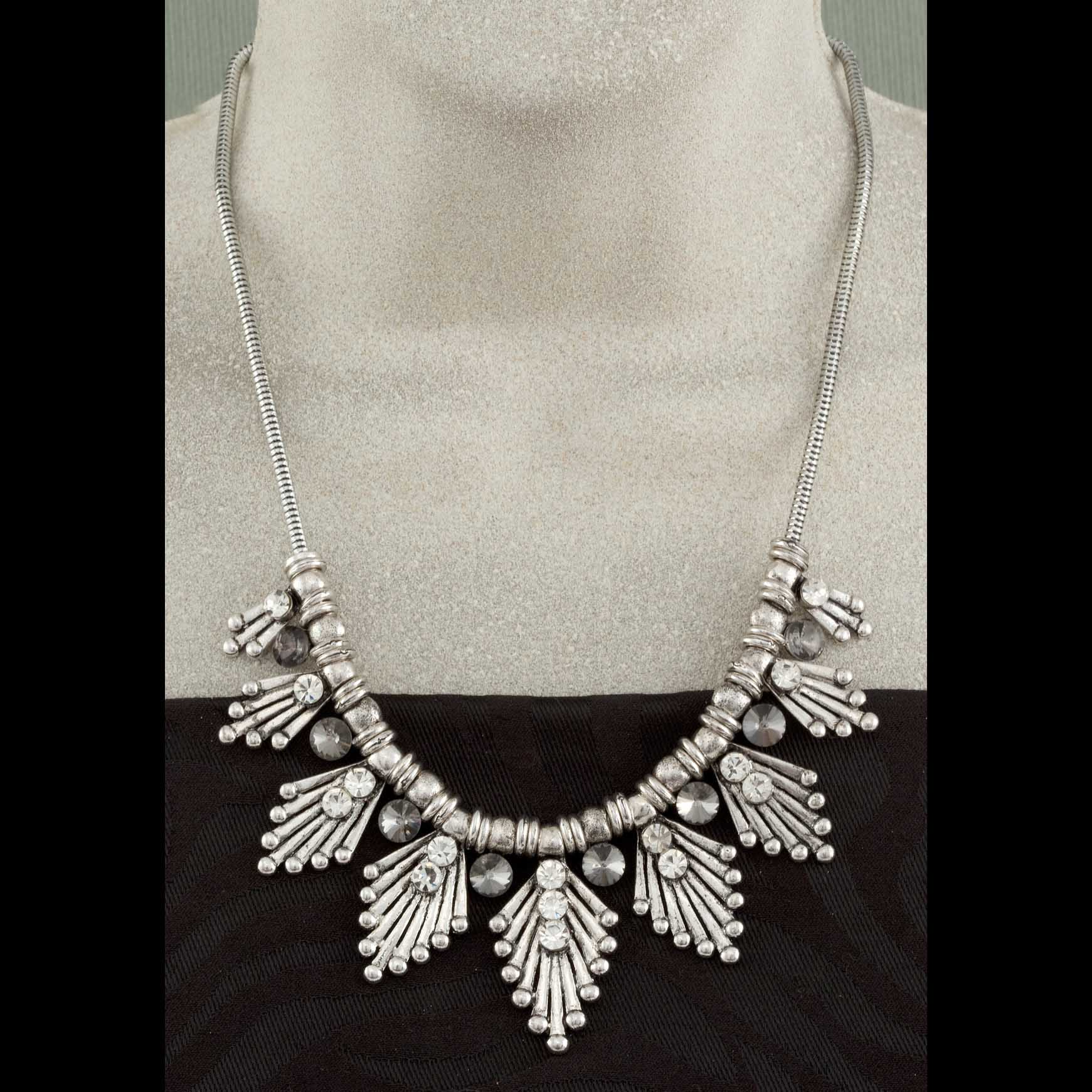 "Silver Cluster Necklace With Crystals 18""-20"""