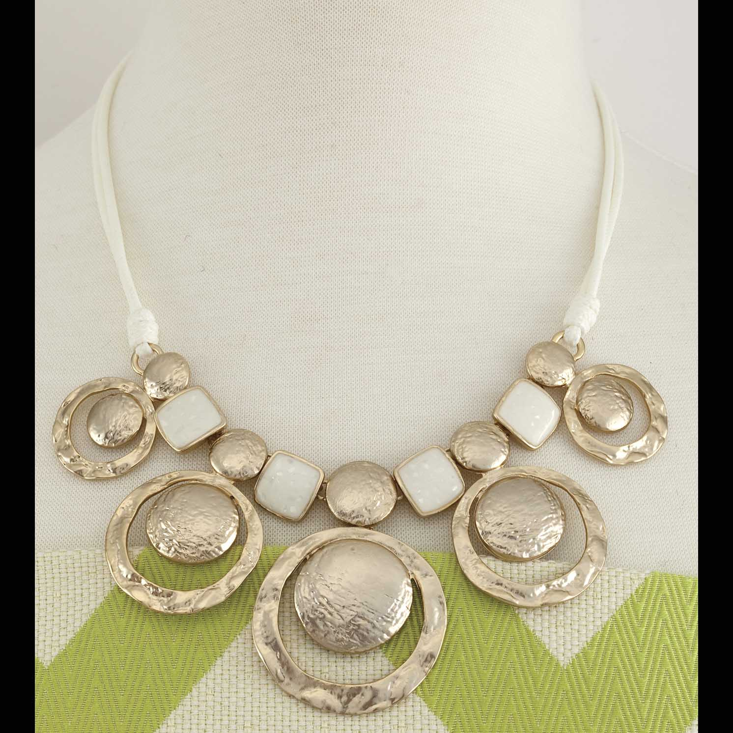 "Gold Discs Necklace With White Enamel 17""-20"""