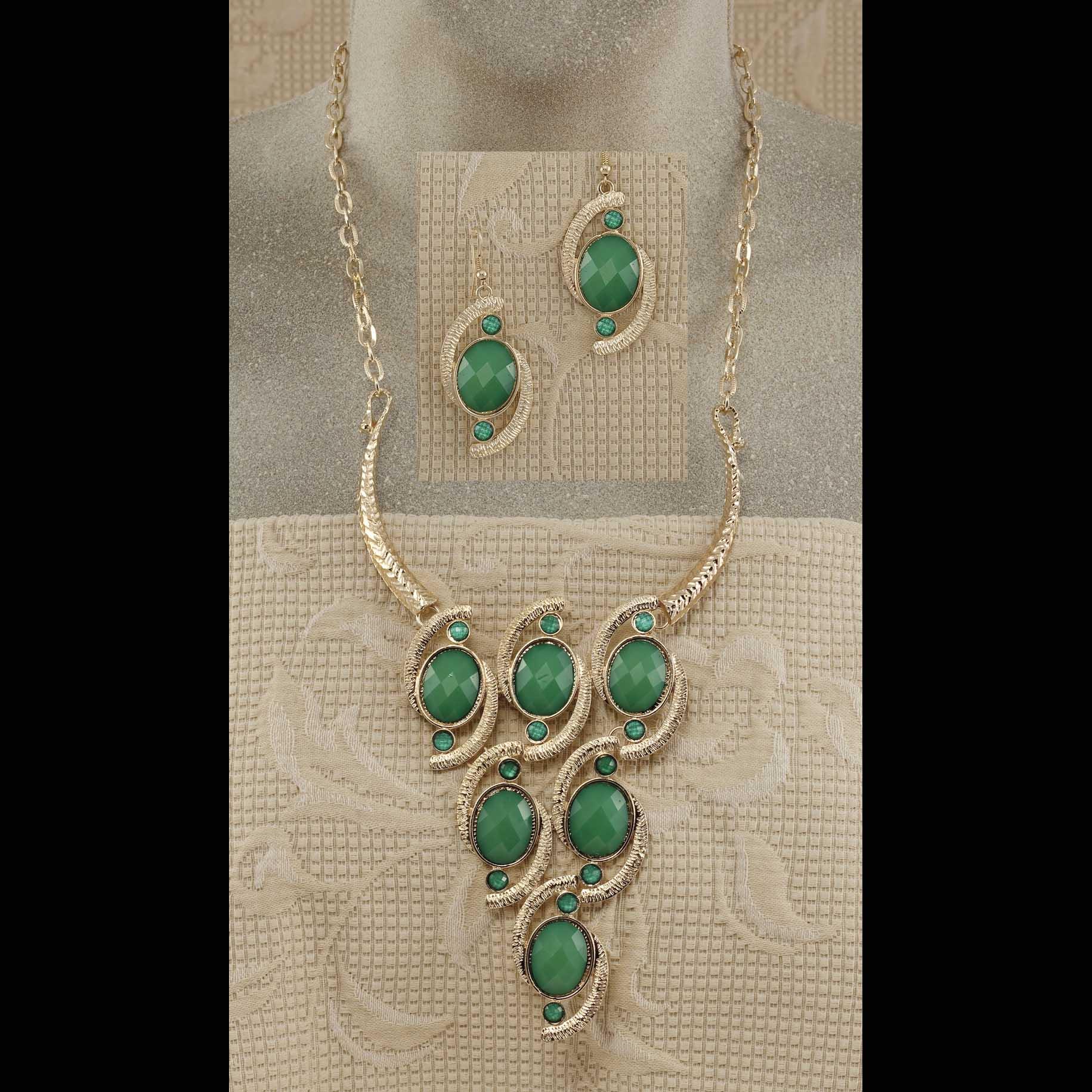 """Gold Swirls Necklace 19""""-22"""" & Earrings Set"""