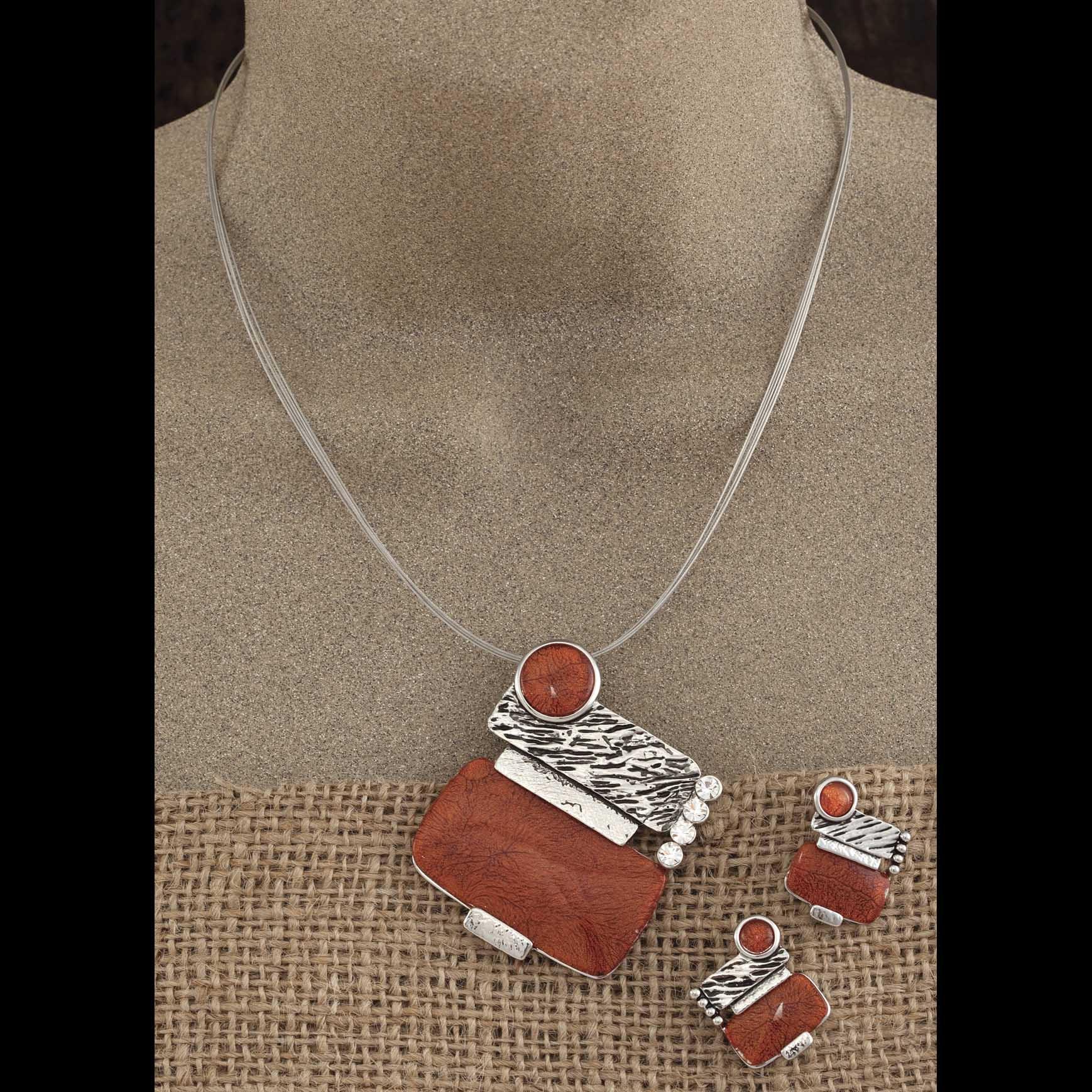 "Silver/Orange 2"" Geometric Stones Necklace 17""-20"" & 1"" Earring"