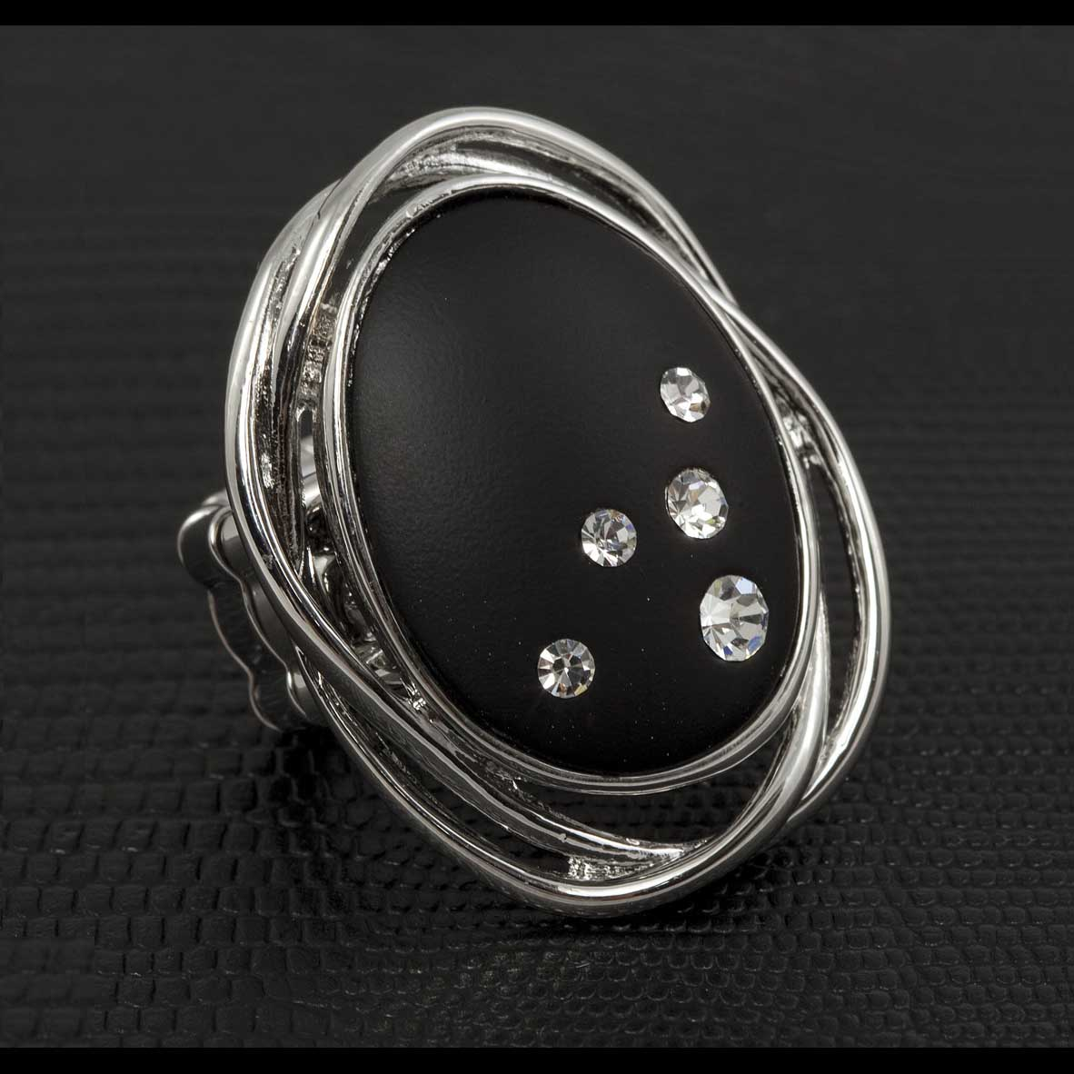 "Black Oval Stretch Ring With Embedded Crystals 1 1/2"" *30sp"